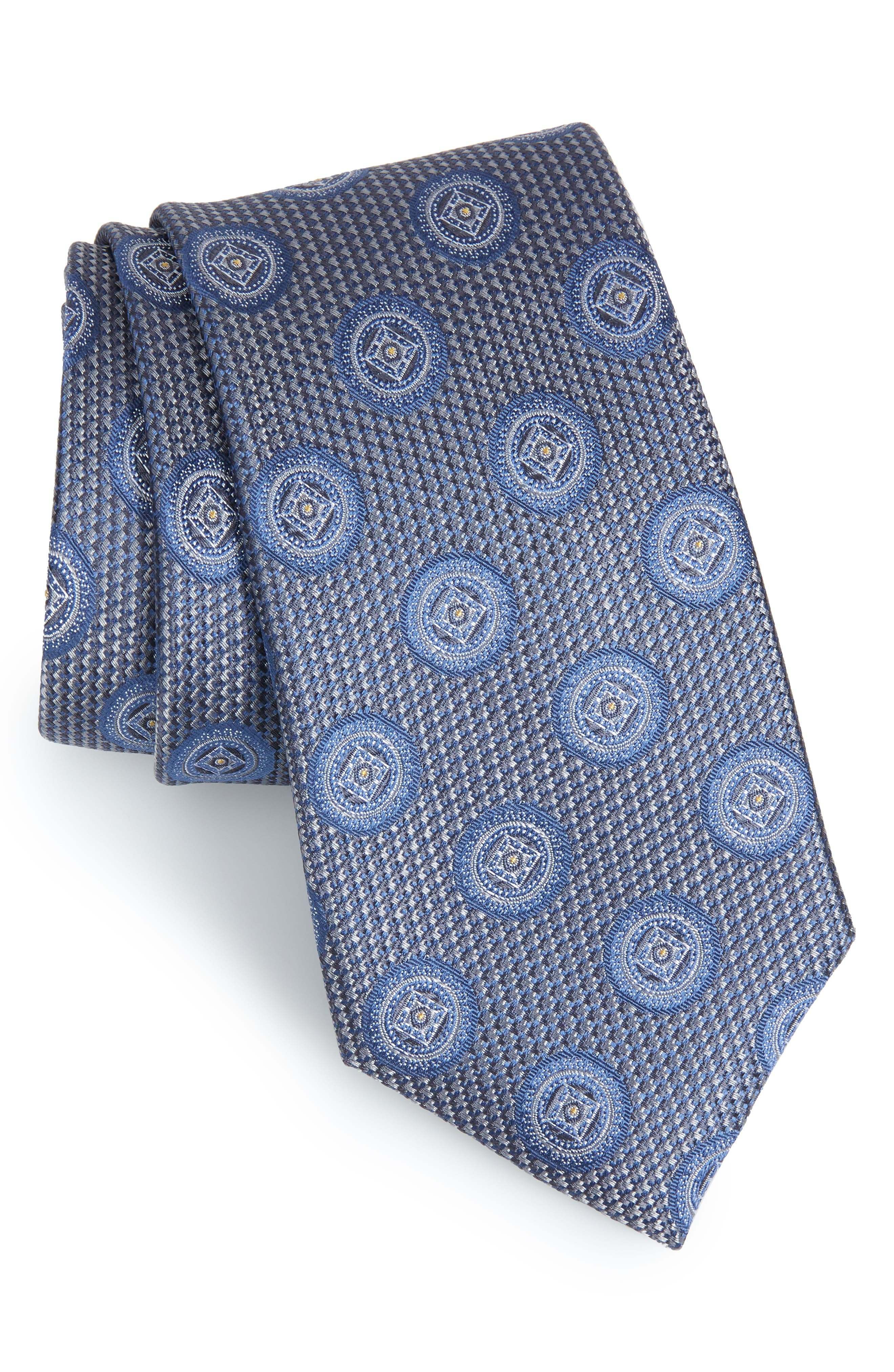 Romano Medallion Silk Tie,                             Main thumbnail 1, color,                             LIGHT GREY