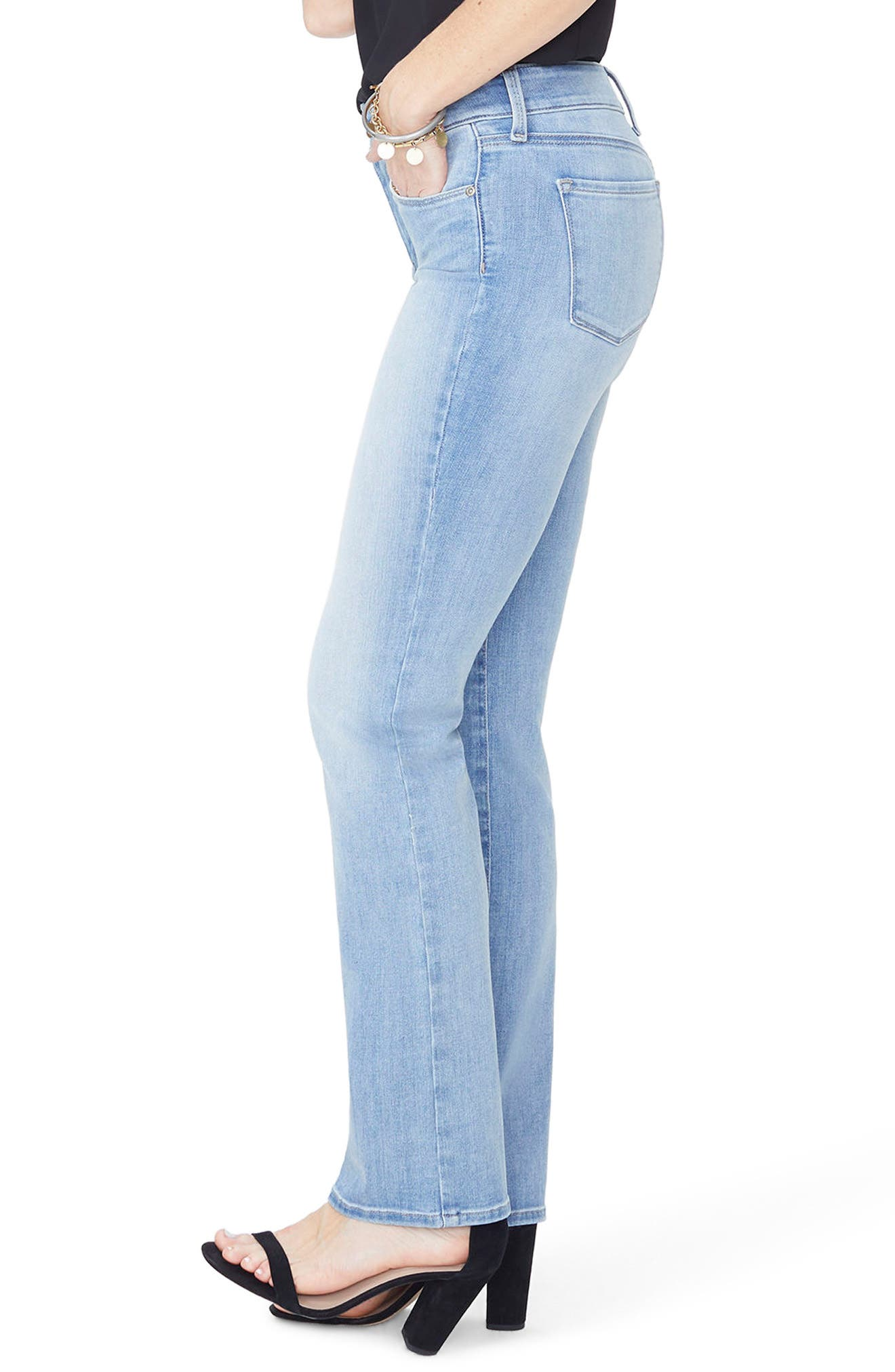 Marilyn High Waist Stretch Straight Leg Jeans,                             Alternate thumbnail 3, color,                             DREAMSTATE
