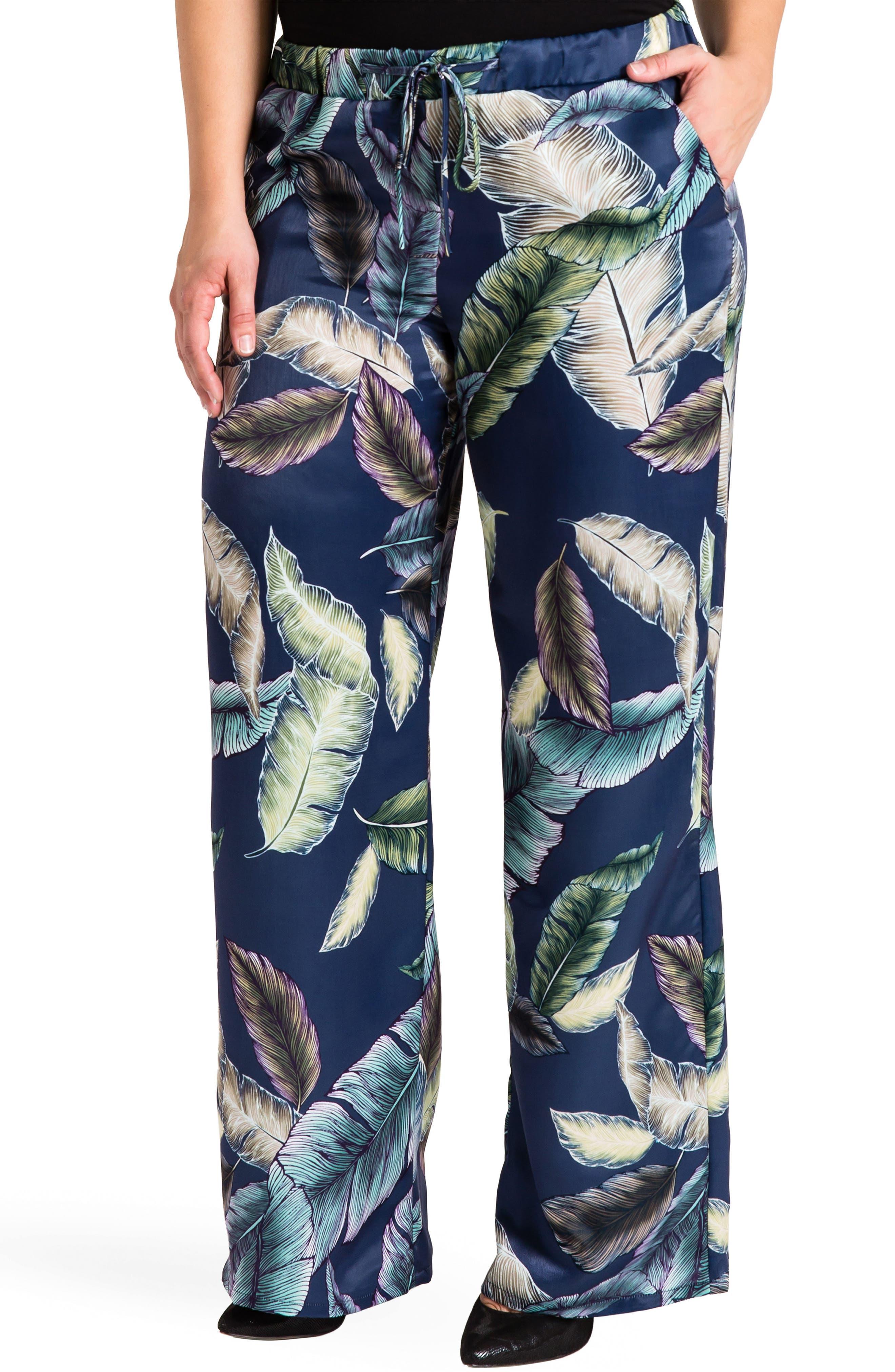 Rada Print Wide Leg Pants,                         Main,                         color, LEAF PRINT