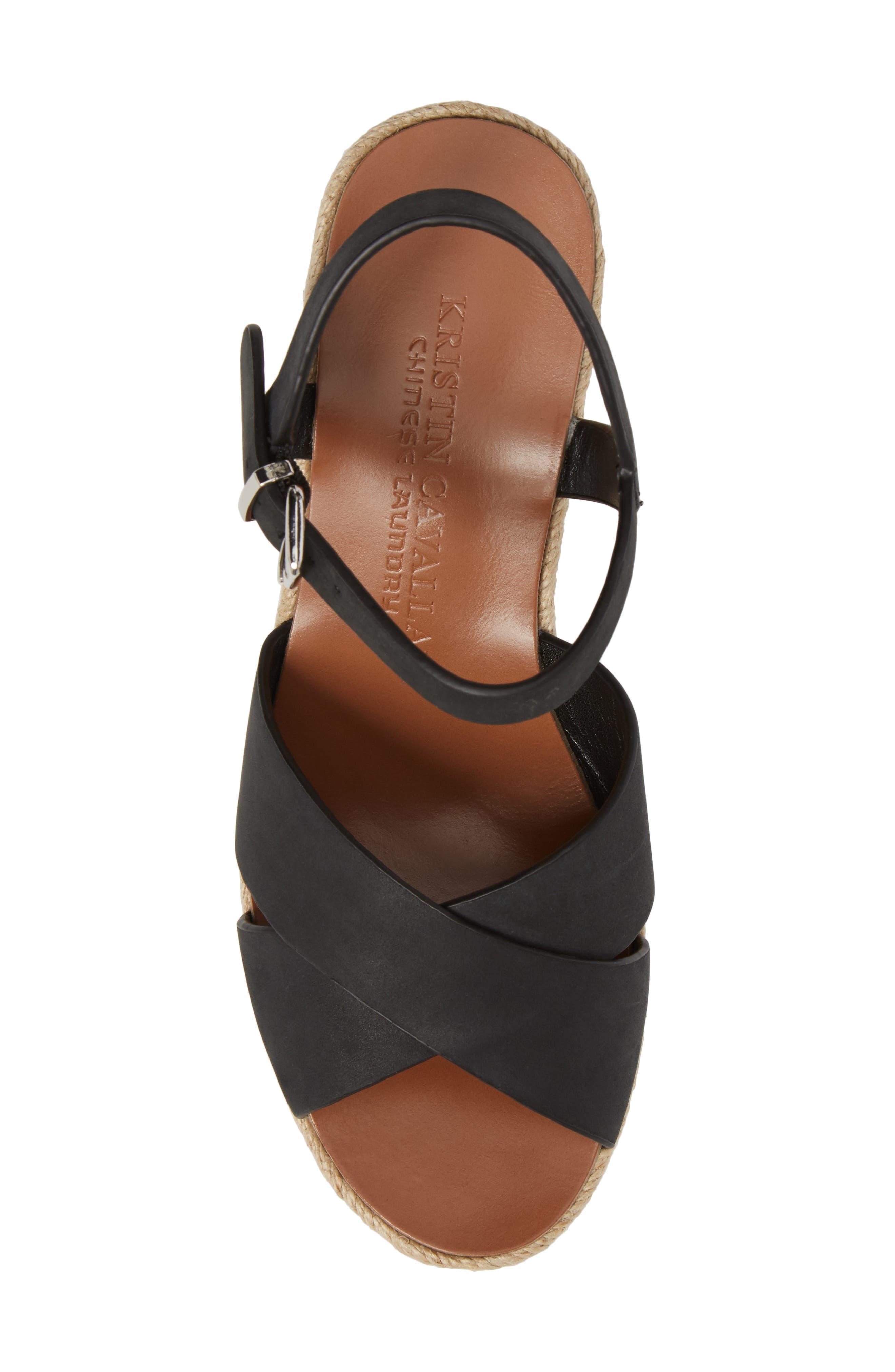 Mikah Espadrille Wedge Sandal,                             Alternate thumbnail 5, color,                             001