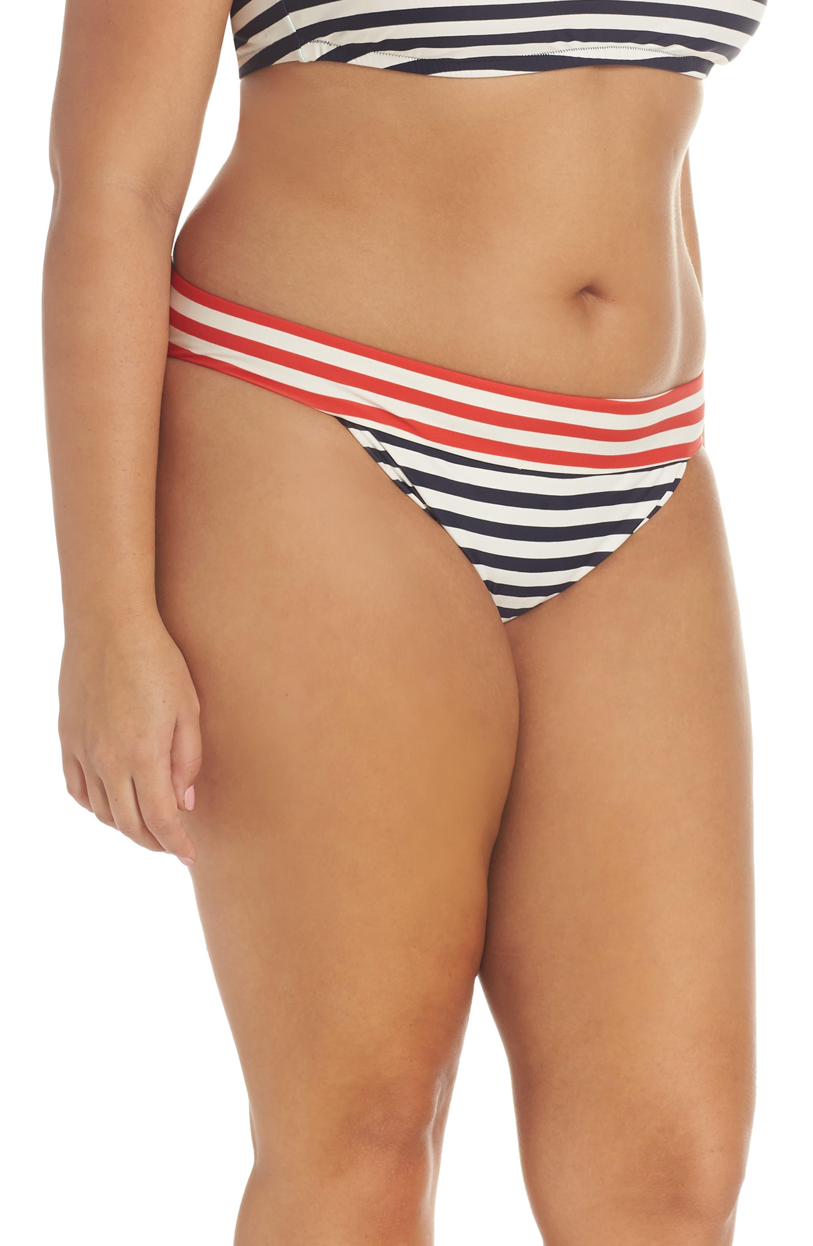 Stripe Banded Bikini Bottoms,                             Alternate thumbnail 3, color,                             NAVY VIVID FLAME