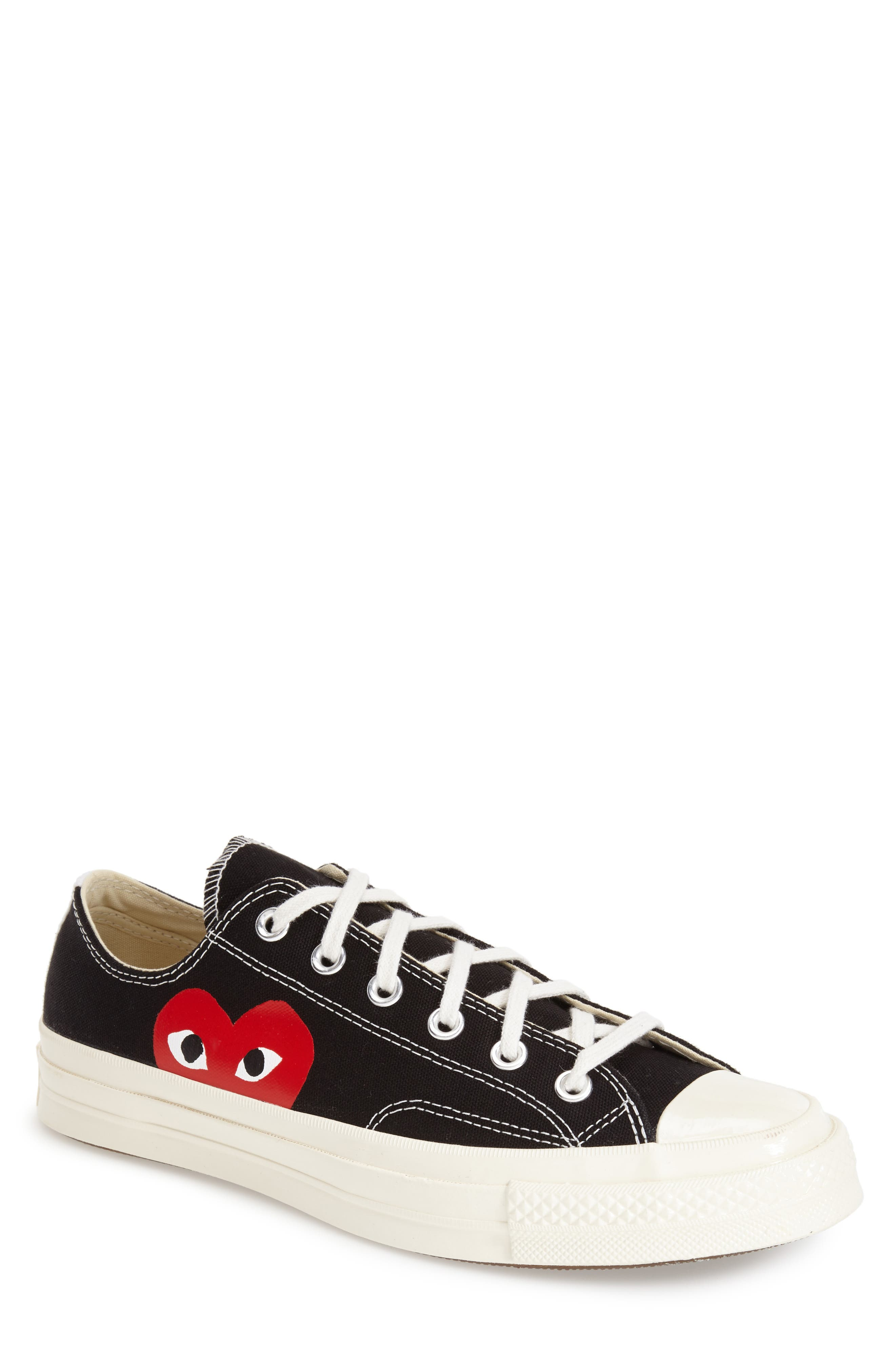 x Converse Chuck Taylor<sup>®</sup> Hidden Heart Low Top Sneaker,                             Alternate thumbnail 4, color,                             BLACK