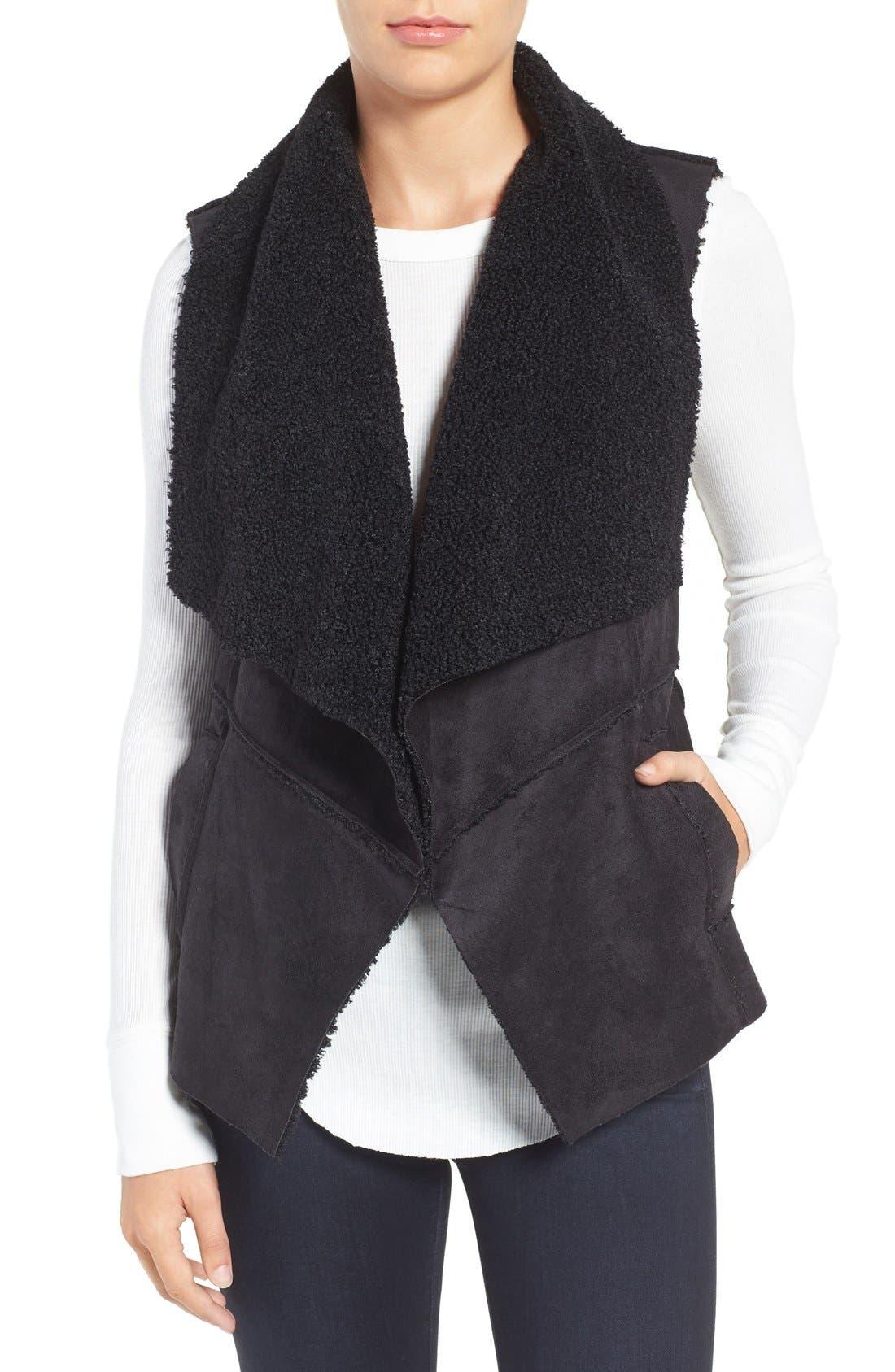 Goslett Faux Shearling Vest,                             Main thumbnail 1, color,                             001