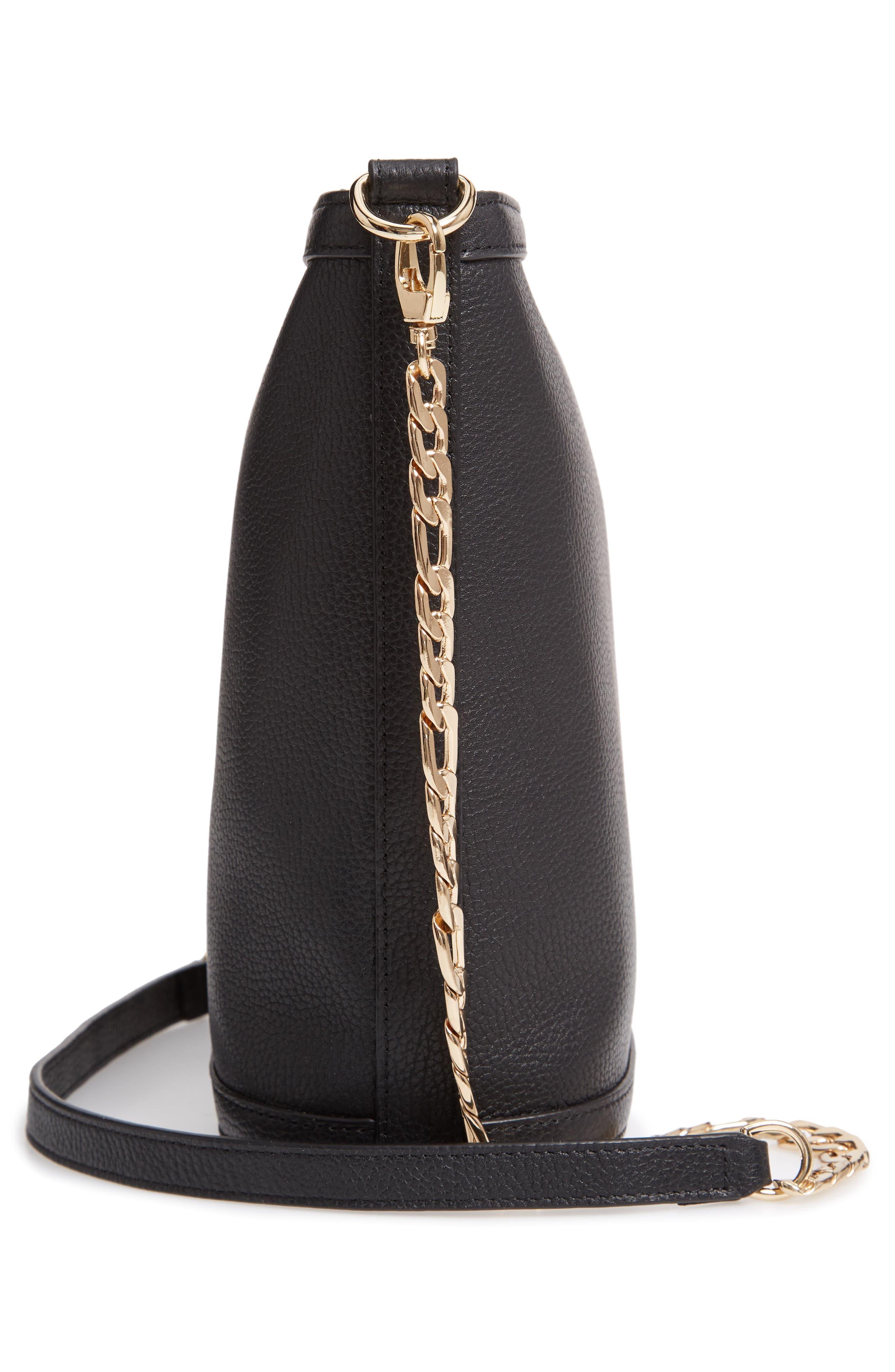 Maribel Leather Crossbody Bag,                             Alternate thumbnail 5, color,                             BLACK