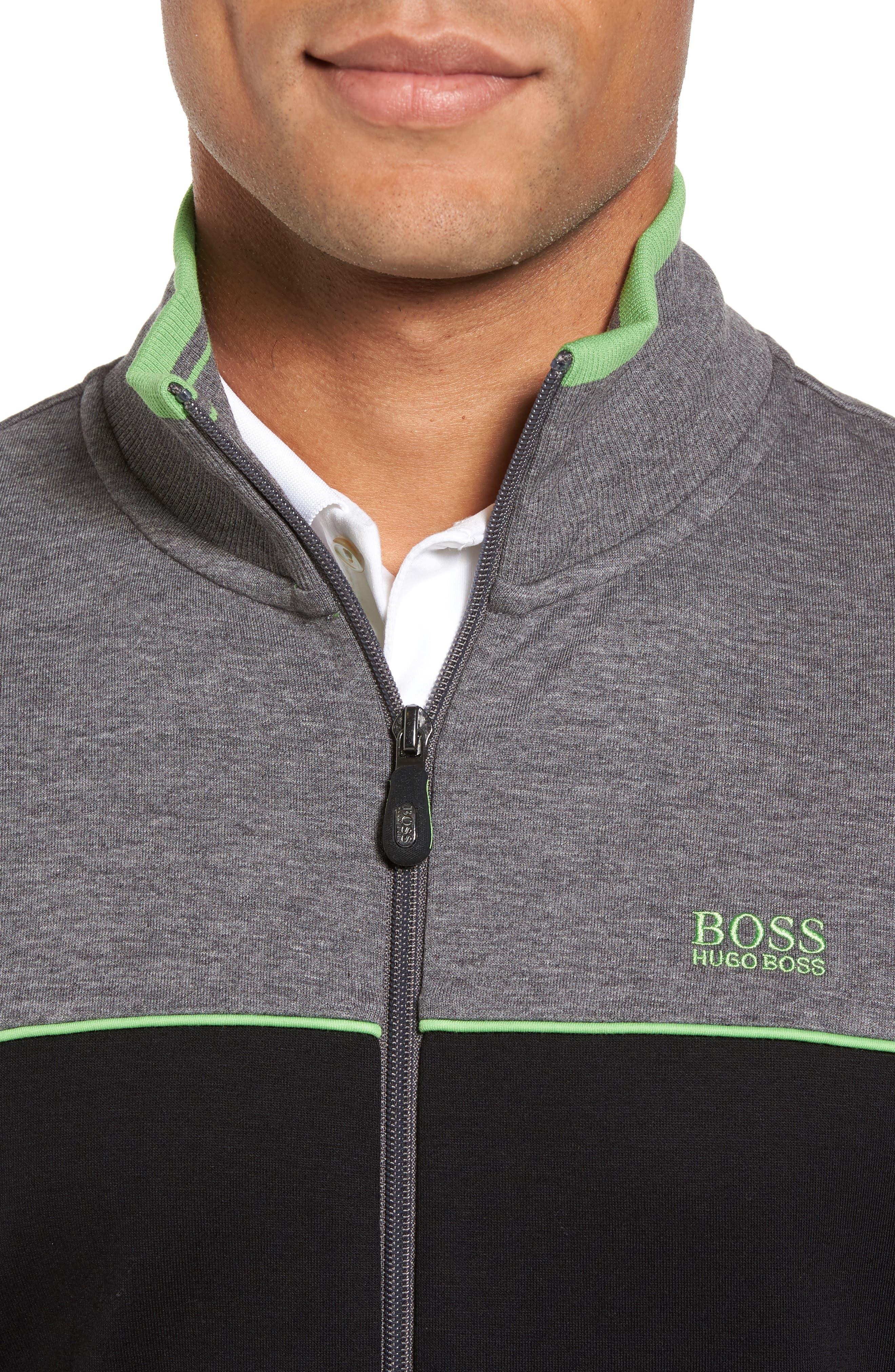 BOSS GREEN,                             Skaz Full Zip Fleece Jacket,                             Alternate thumbnail 4, color,                             001