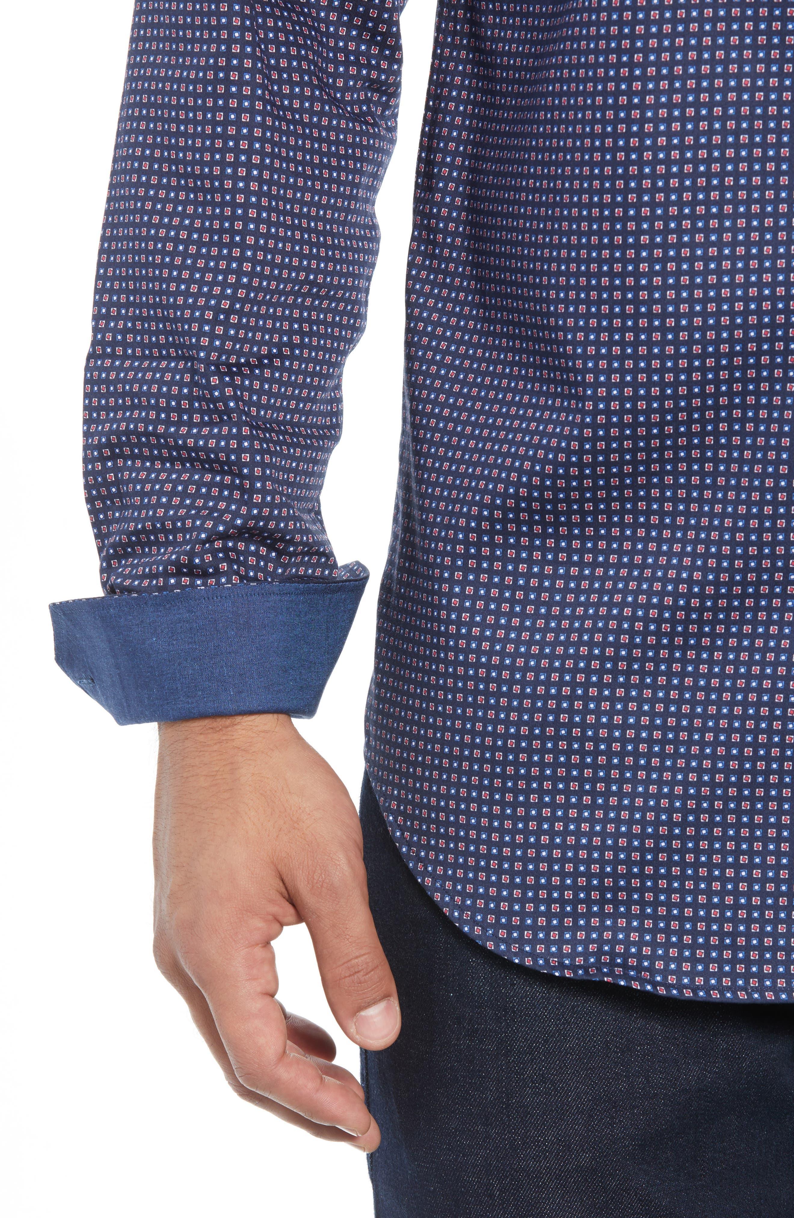 BUGATCHI,                             Shaped Fit Print Sport Shirt,                             Alternate thumbnail 2, color,                             400
