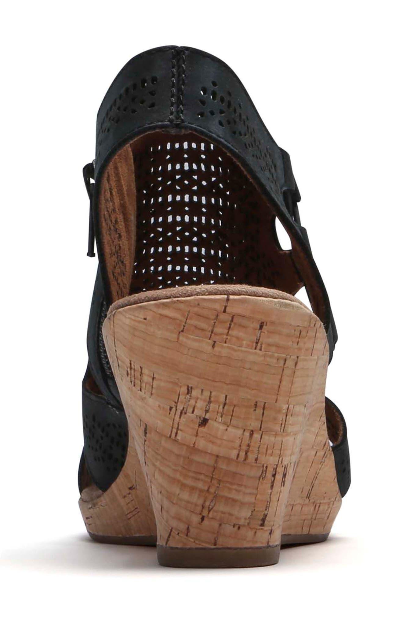 Janna Perforated Wedge Sandal,                             Alternate thumbnail 7, color,                             BLACK NUBUCK LEATHER