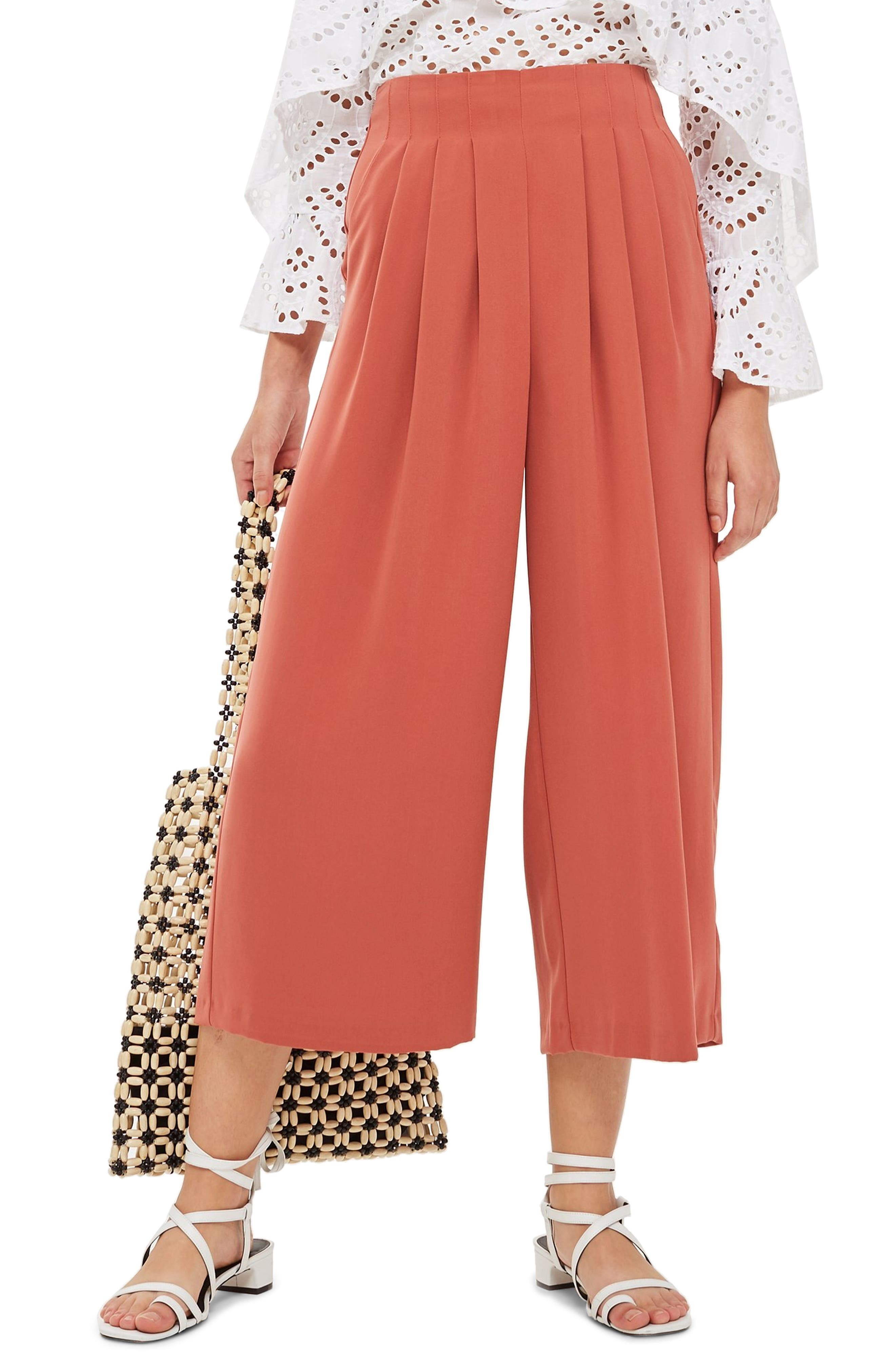 Ivy Crop Wide Leg Trousers,                         Main,                         color, RUST