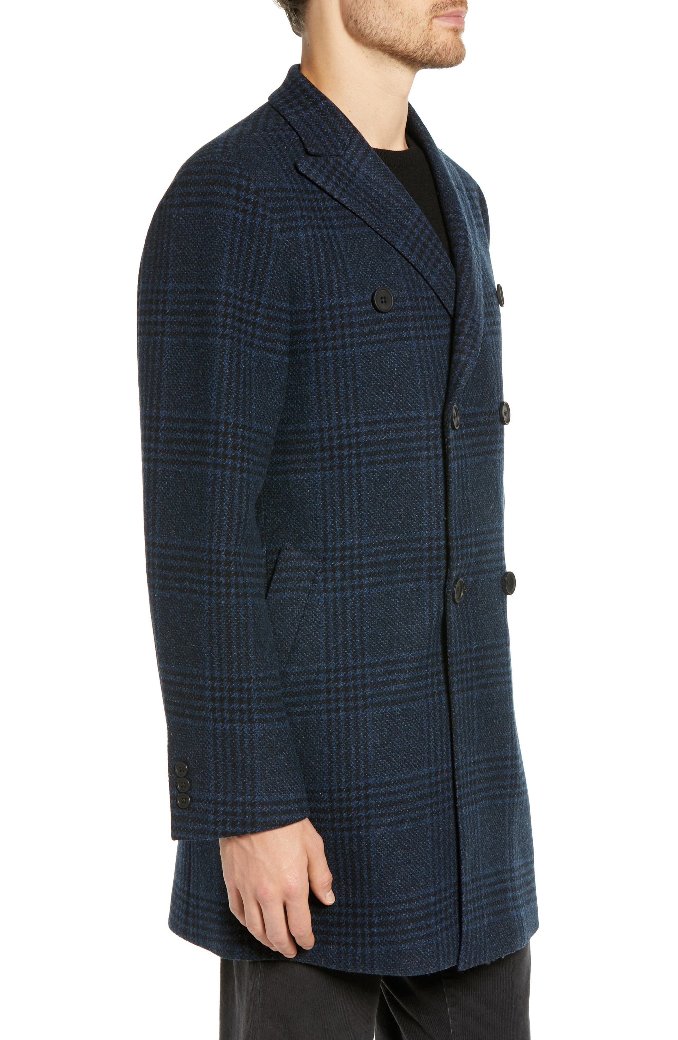 Jackson Extra Trim Fit Wool Overcoat,                             Alternate thumbnail 3, color,                             NAVY