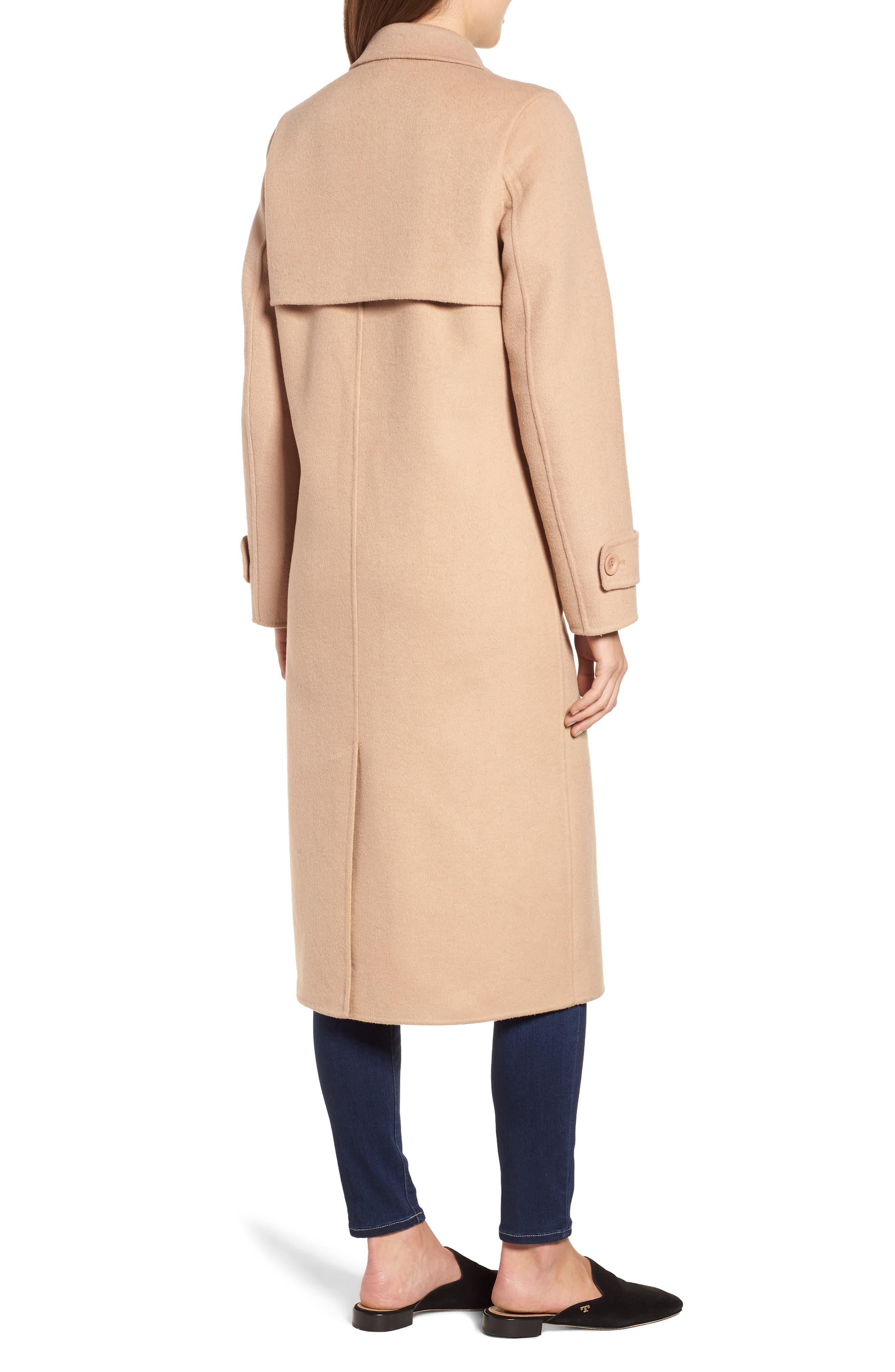Double Face Wool Blend Long Coat,                             Alternate thumbnail 2, color,                             CAMEL