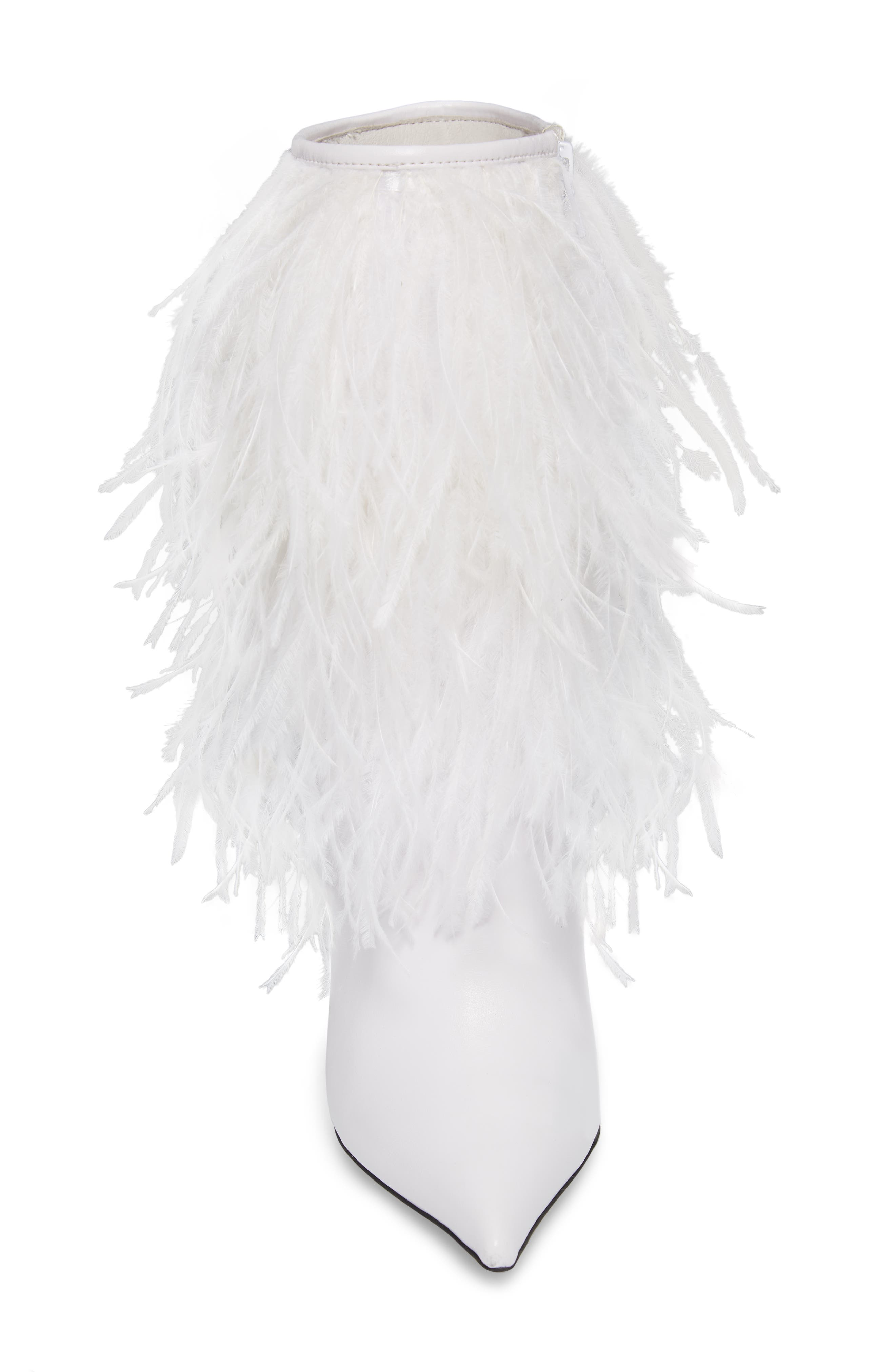 Fly4U Ostrich Feather Bootie,                             Alternate thumbnail 4, color,                             111
