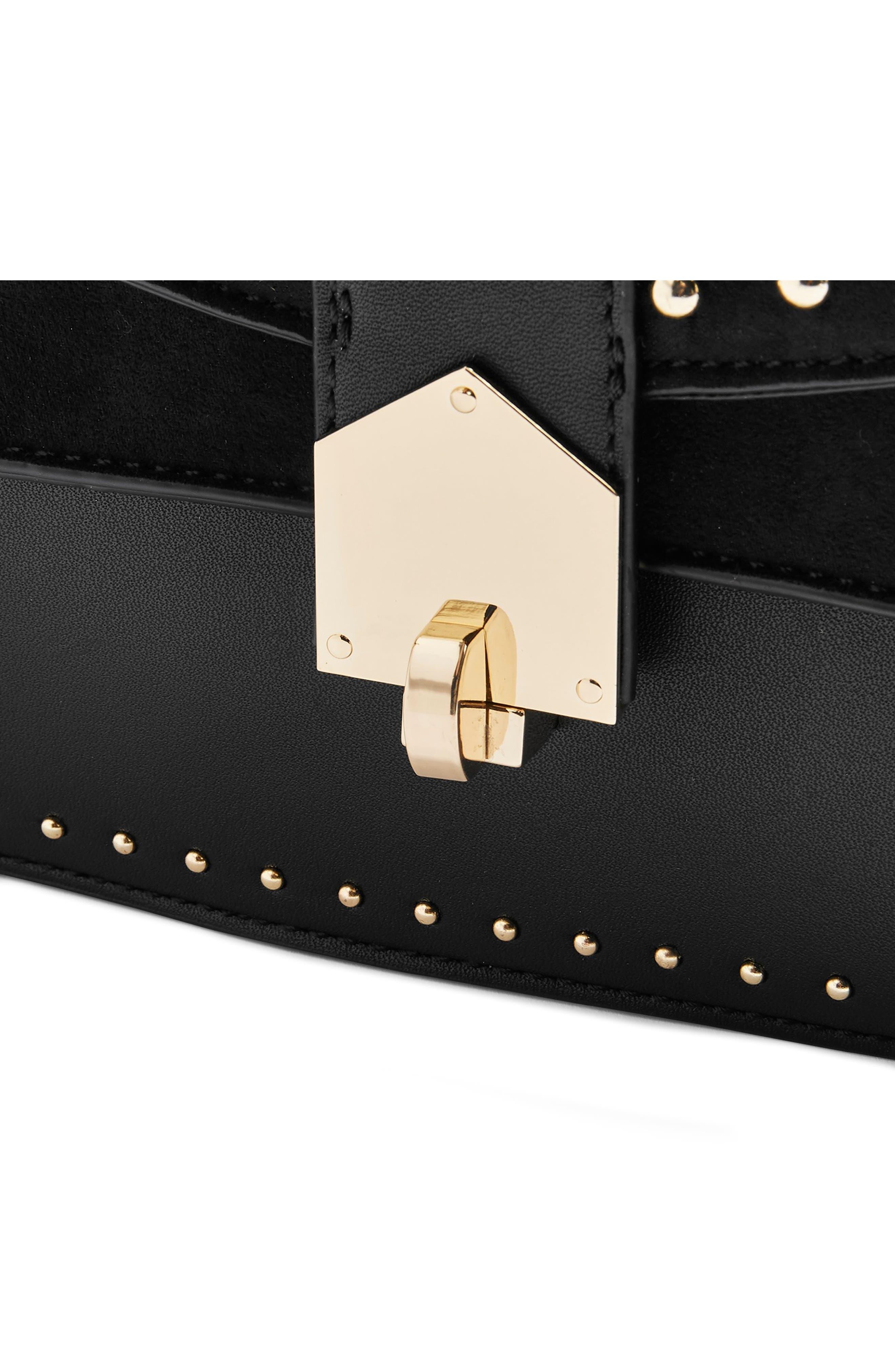 Shelby Stud Crossbody Bag,                             Alternate thumbnail 5, color,                             BLACK