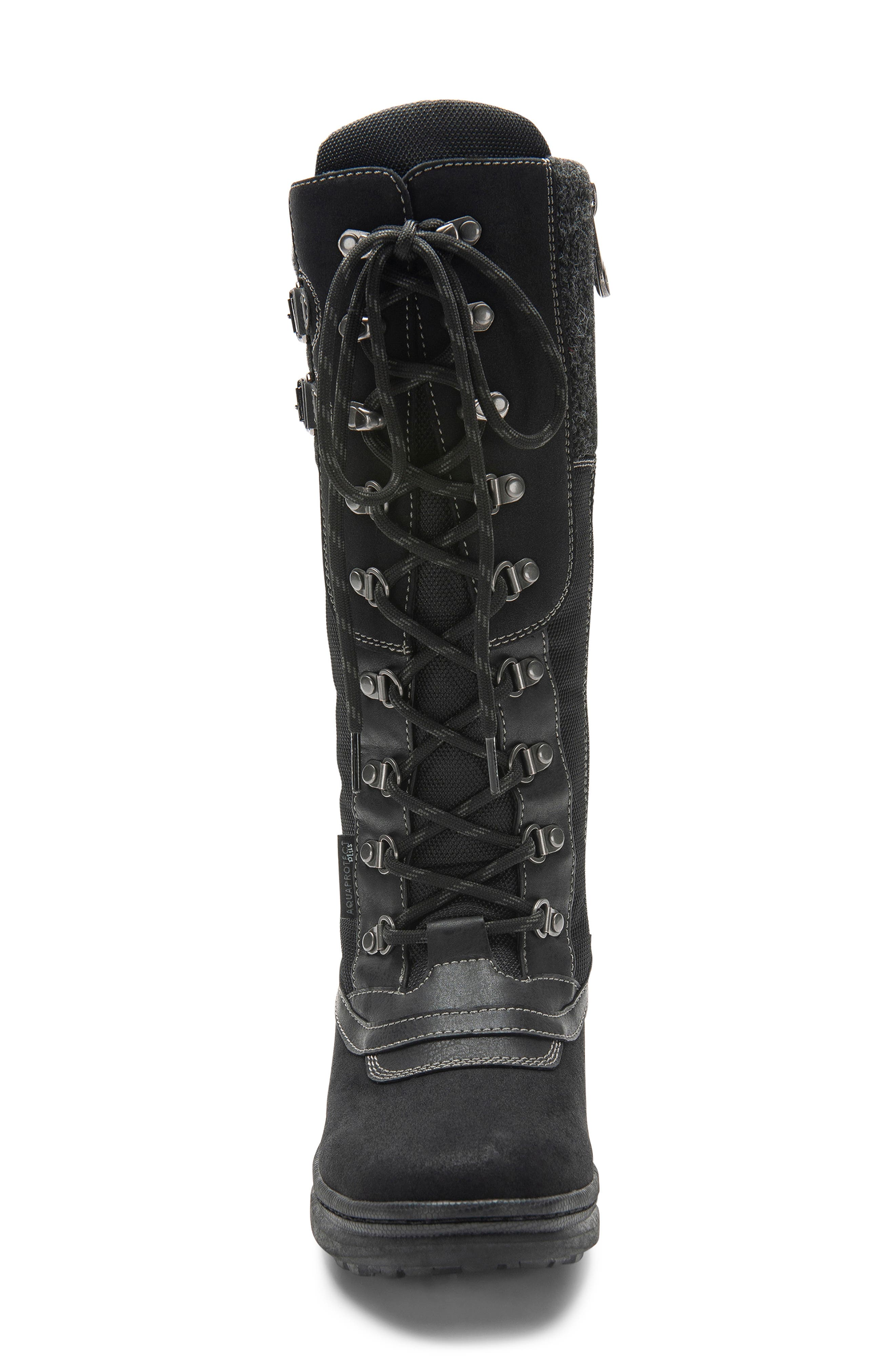 India Waterproof Snow Boot,                             Alternate thumbnail 4, color,                             BLACK LEATHER