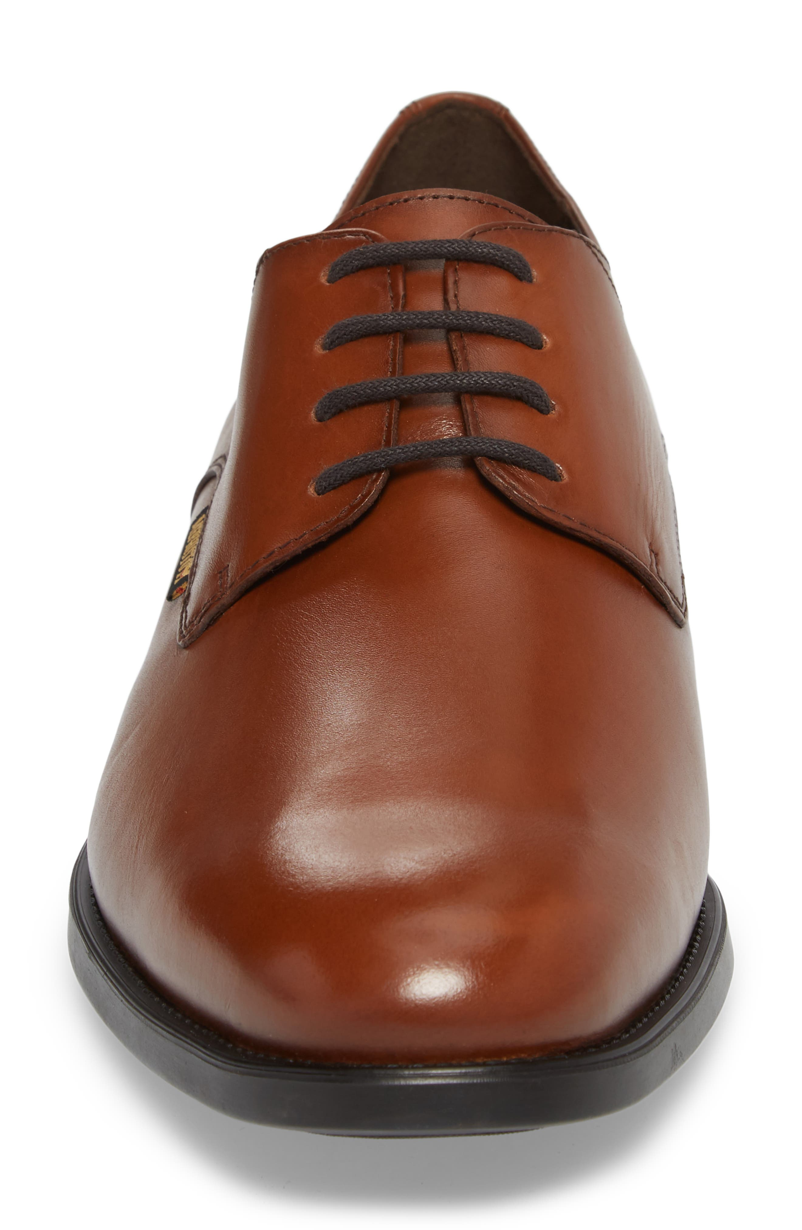 'Cooper' Plain Toe Derby,                             Alternate thumbnail 4, color,                             CHESTNUT LEATHER