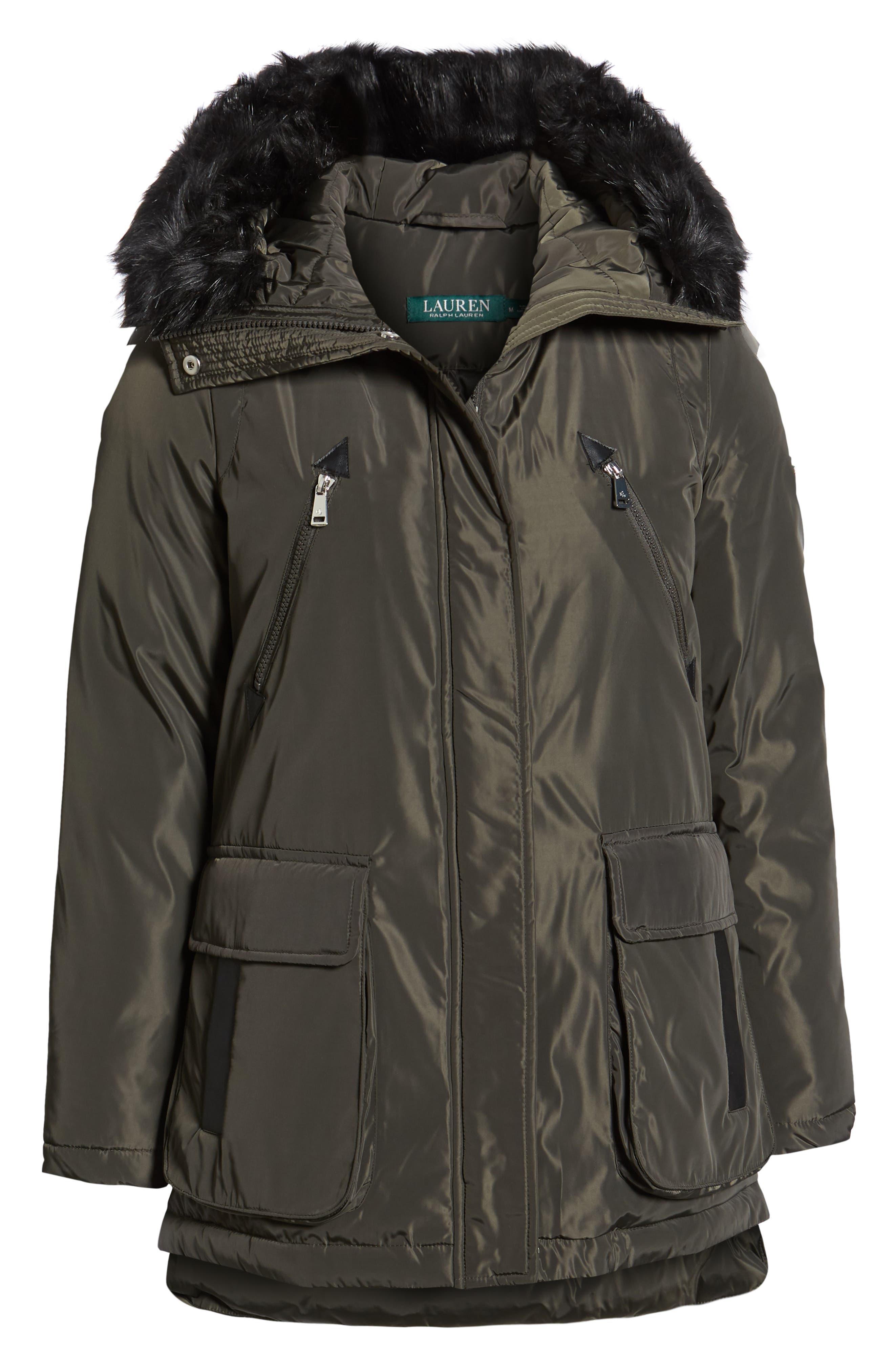 Faux Fur Trim Hooded Coat,                             Alternate thumbnail 3, color,                             DARK MOSS