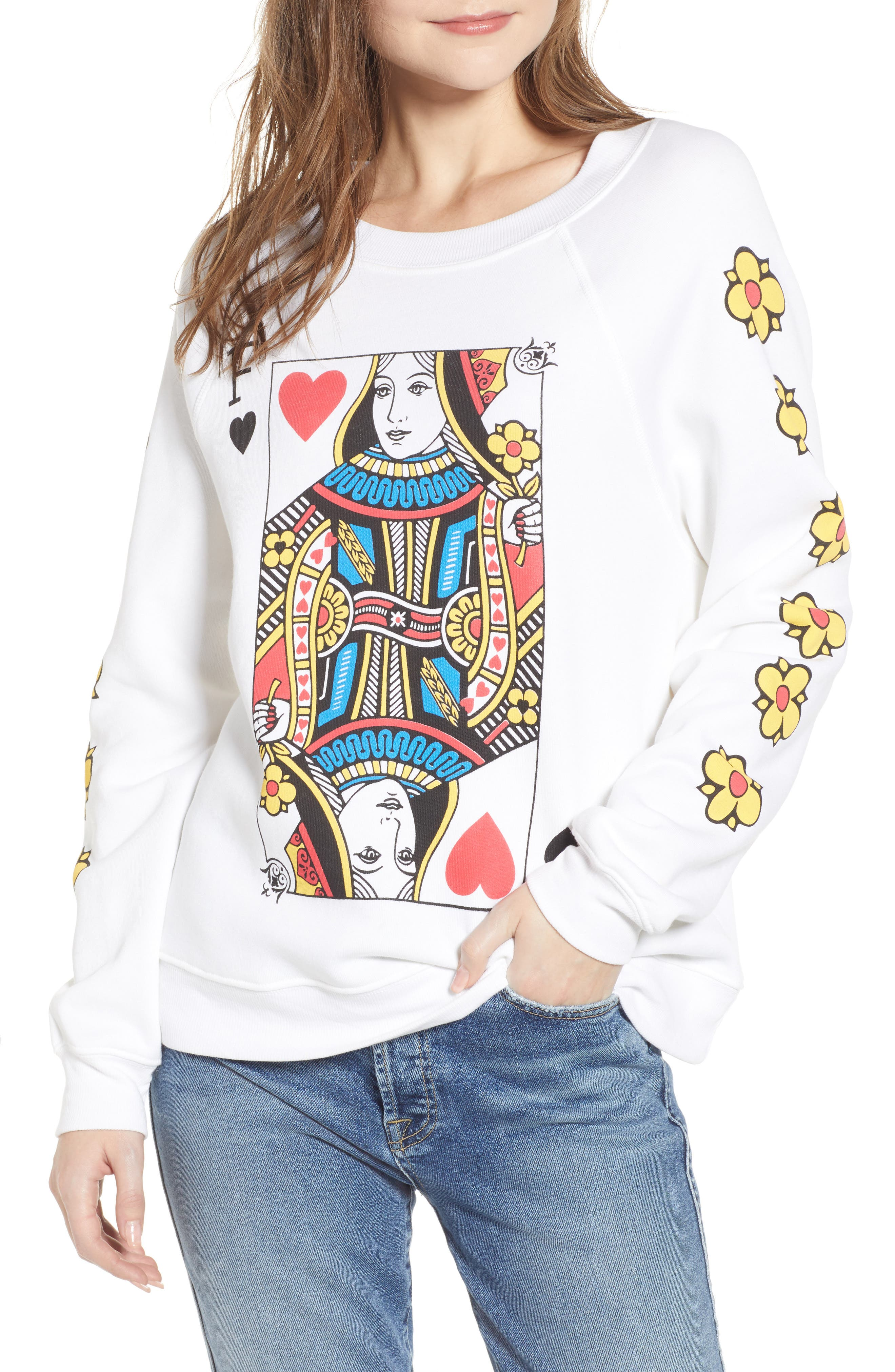 WILDFOX Queen Of The Damned Sommers Sweatshirt in Clean White