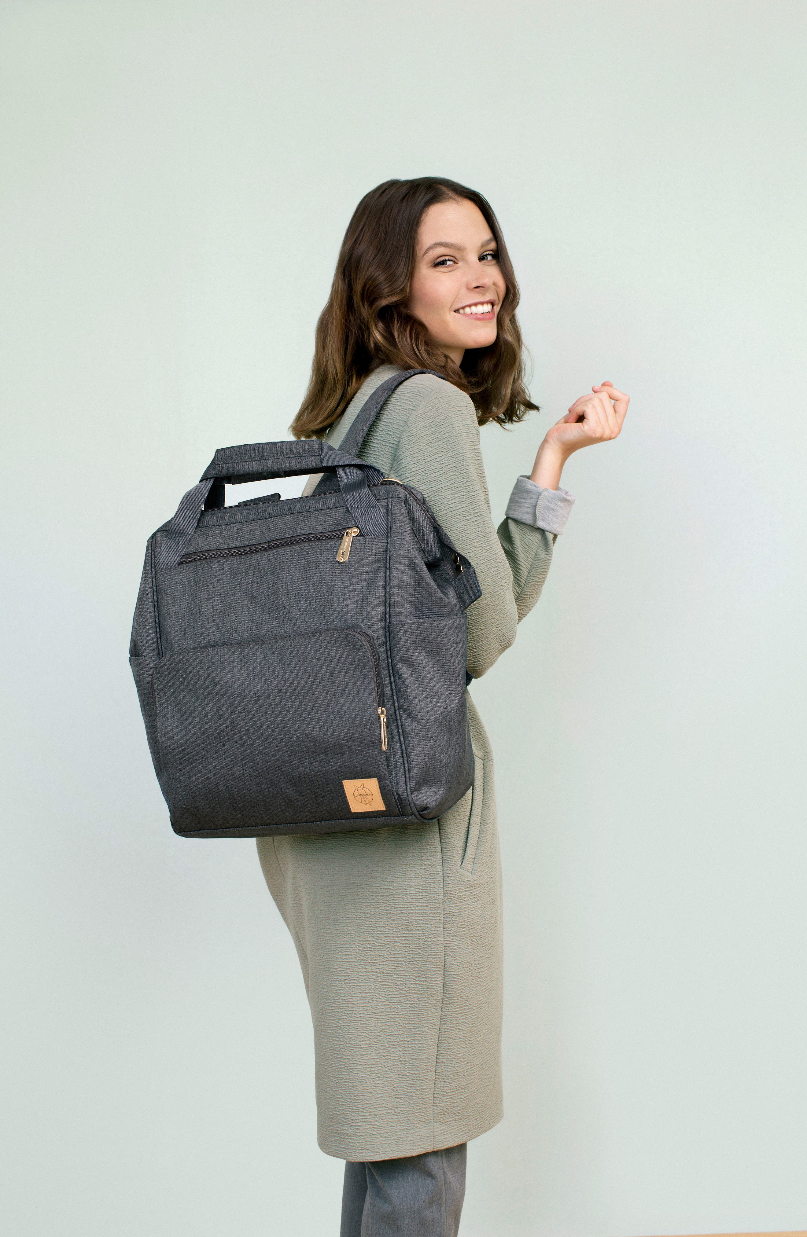 Glam Goldie Diaper Backpack,                             Alternate thumbnail 9, color,                             ANTHRACITE