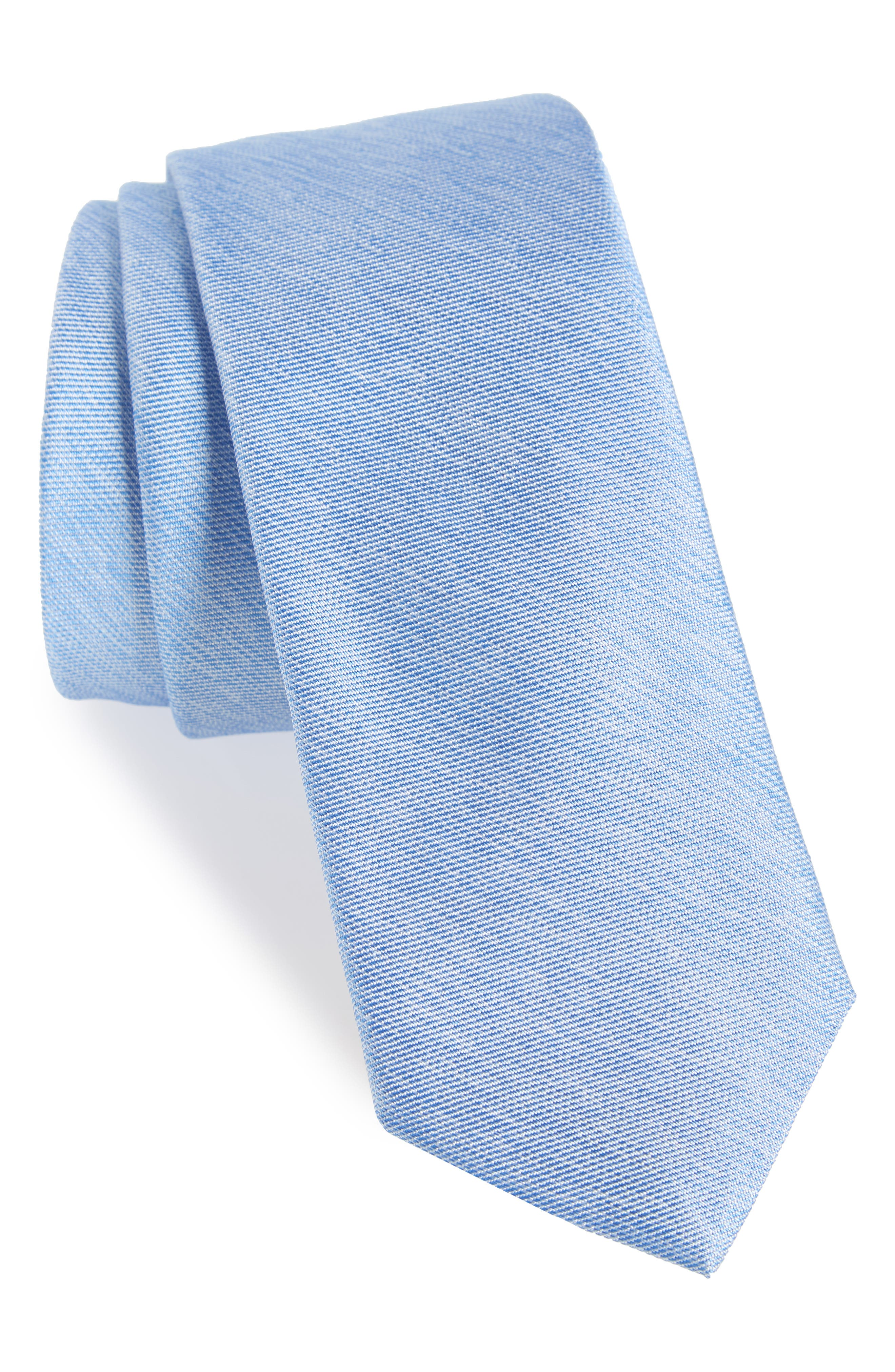 Andrews Solid Skinny Silk Tie,                             Main thumbnail 1, color,                             BLUE