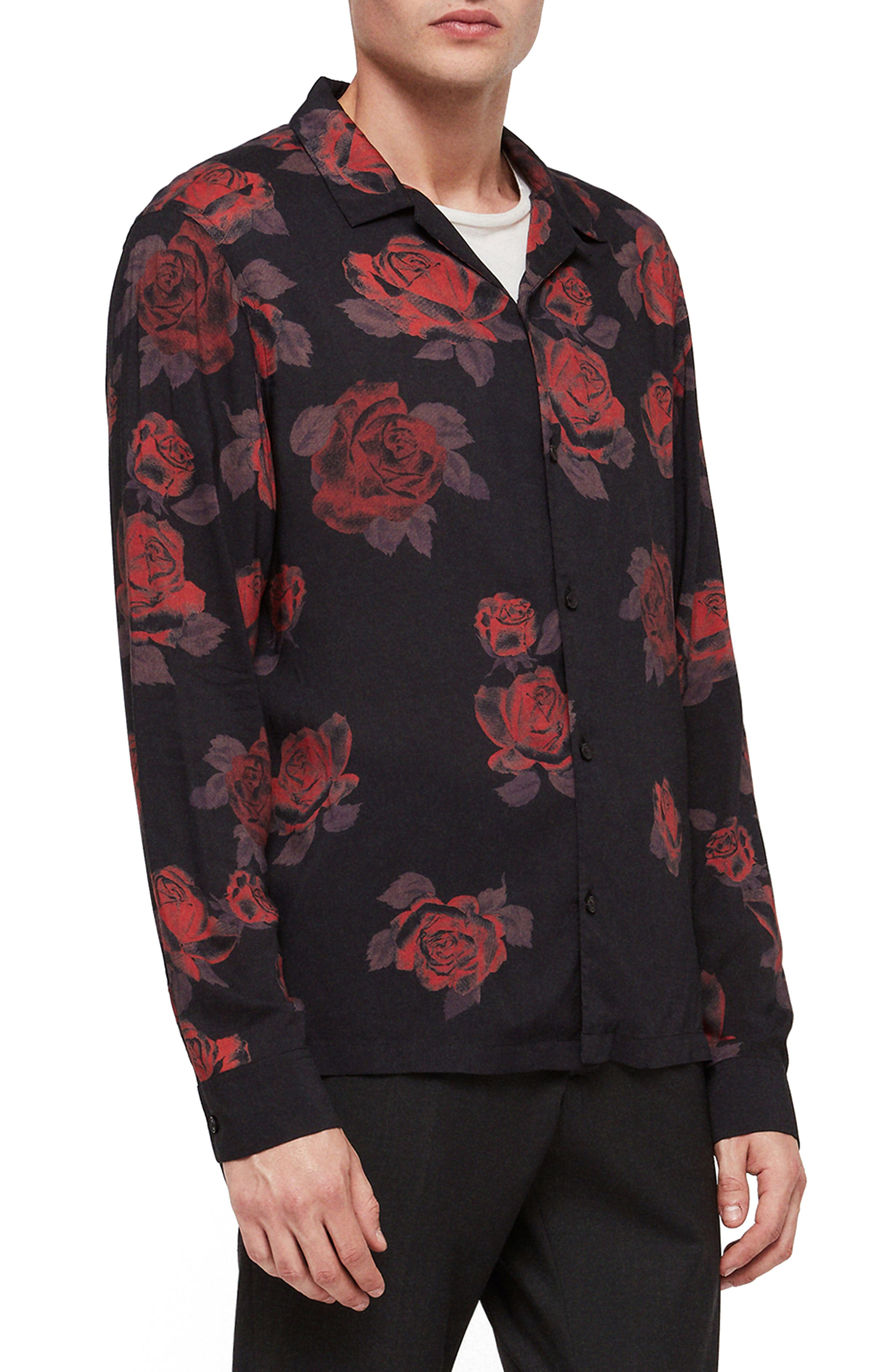 Thorn Revere Collar Sport Shirt,                             Main thumbnail 1, color,                             JET BLACK/ RED