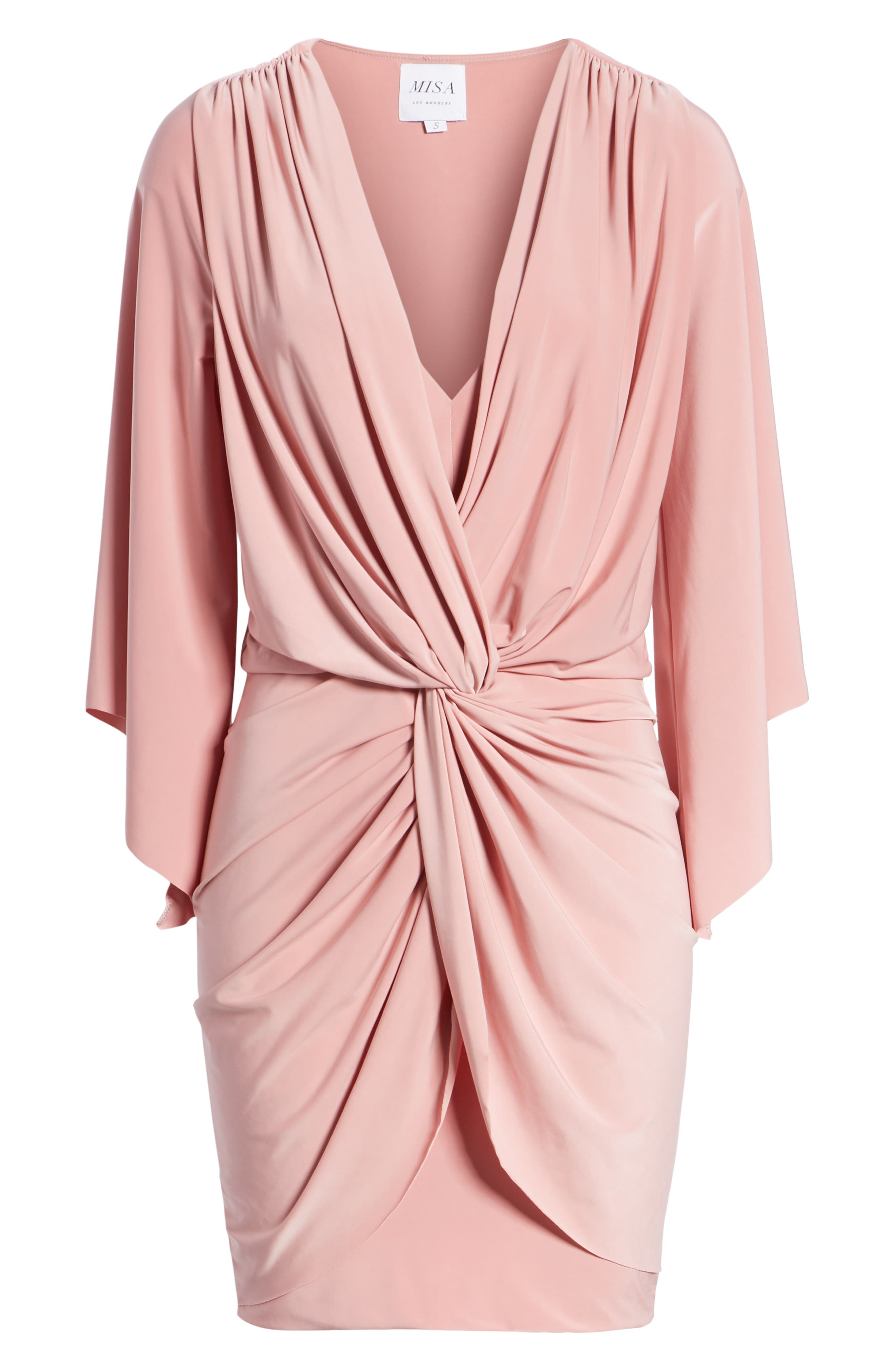 Teget Knot Front Dress,                             Alternate thumbnail 7, color,                             DUSTY ROSE