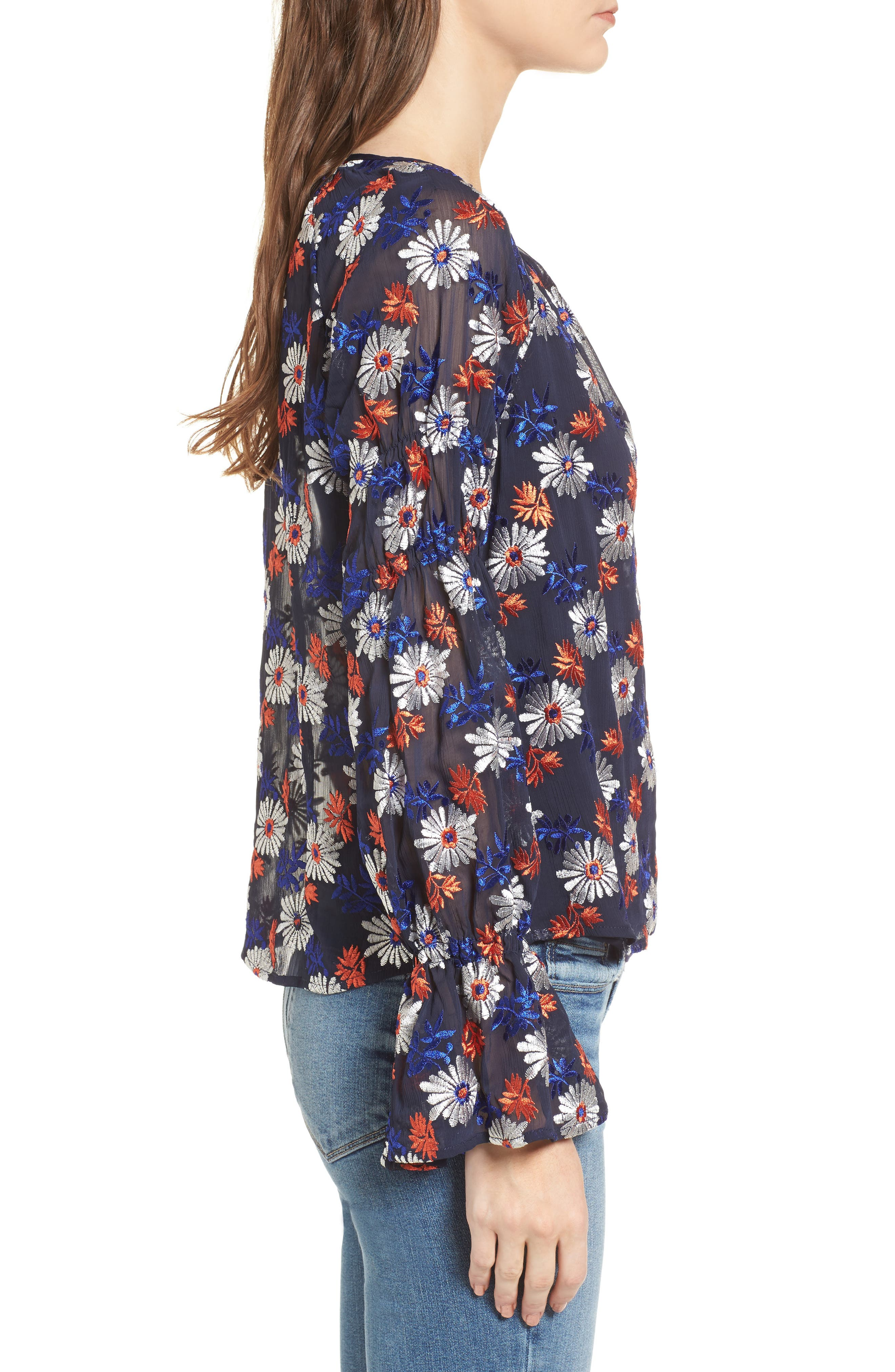 Embroidered Floral Blouse,                             Alternate thumbnail 3, color,                             419