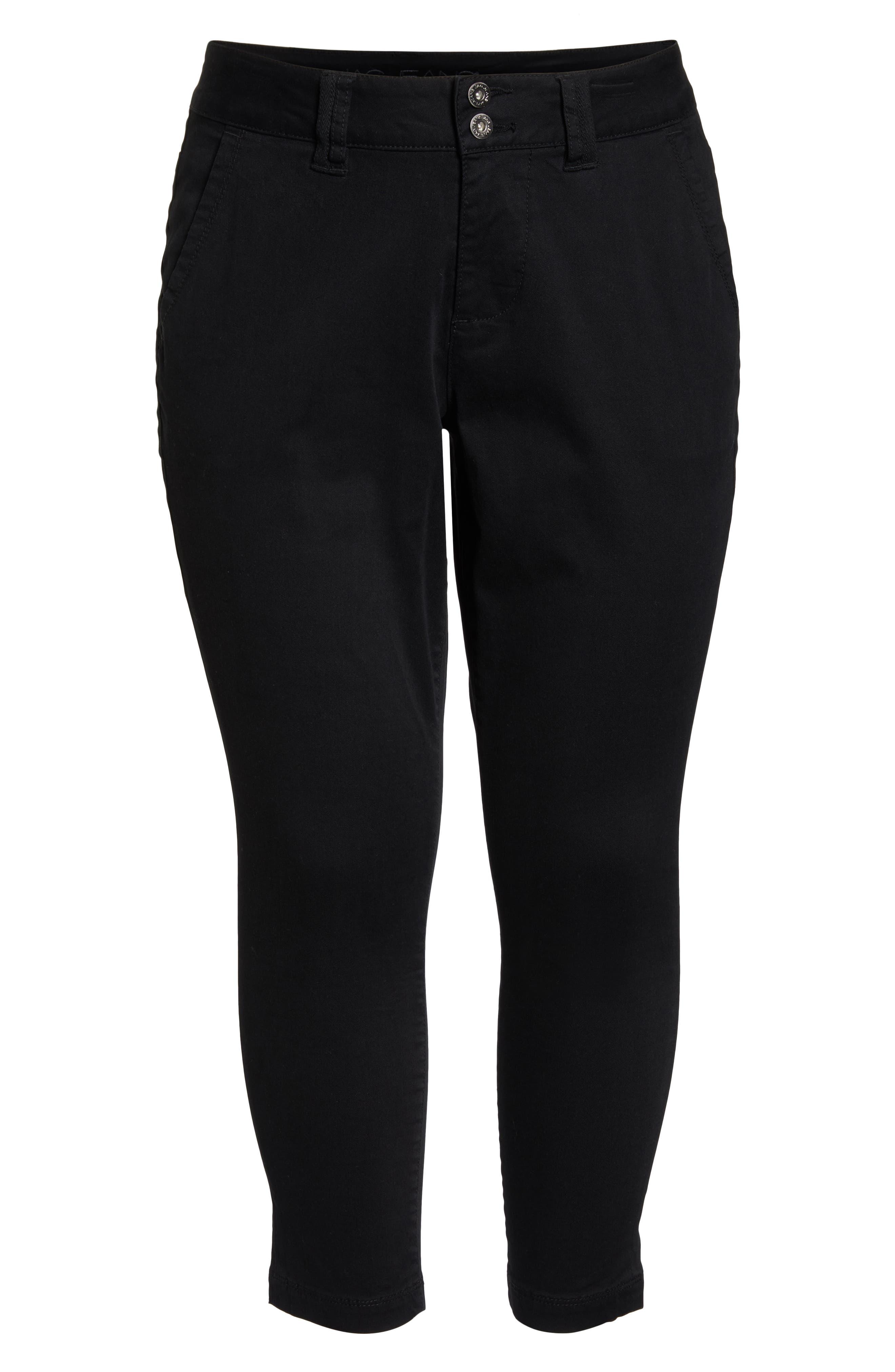 Flora Stretch Cotton Crop Pants,                             Alternate thumbnail 7, color,                             BLACK
