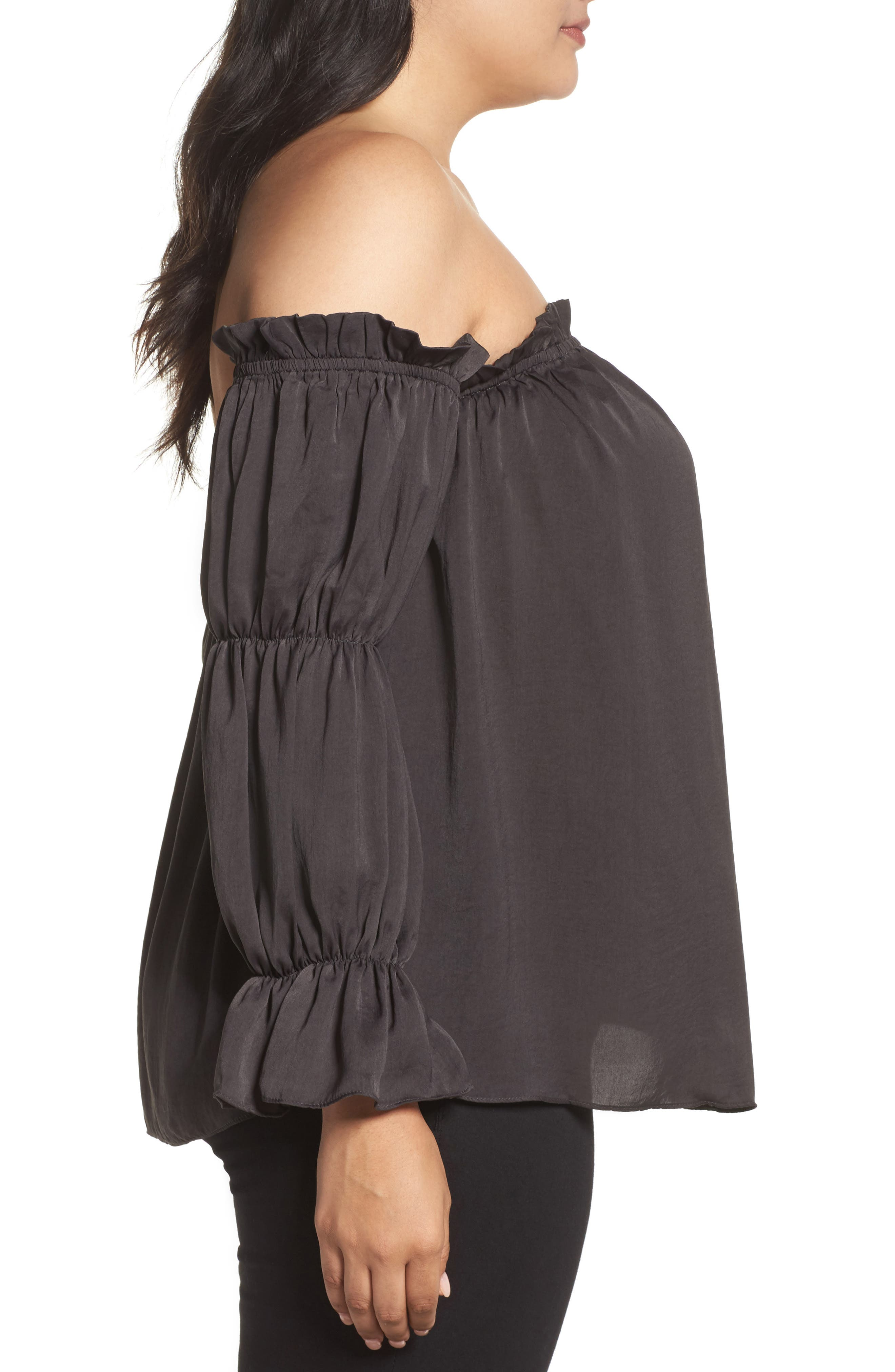 Off the Shoulder Puff Sleeve Top,                             Alternate thumbnail 3, color,                             020