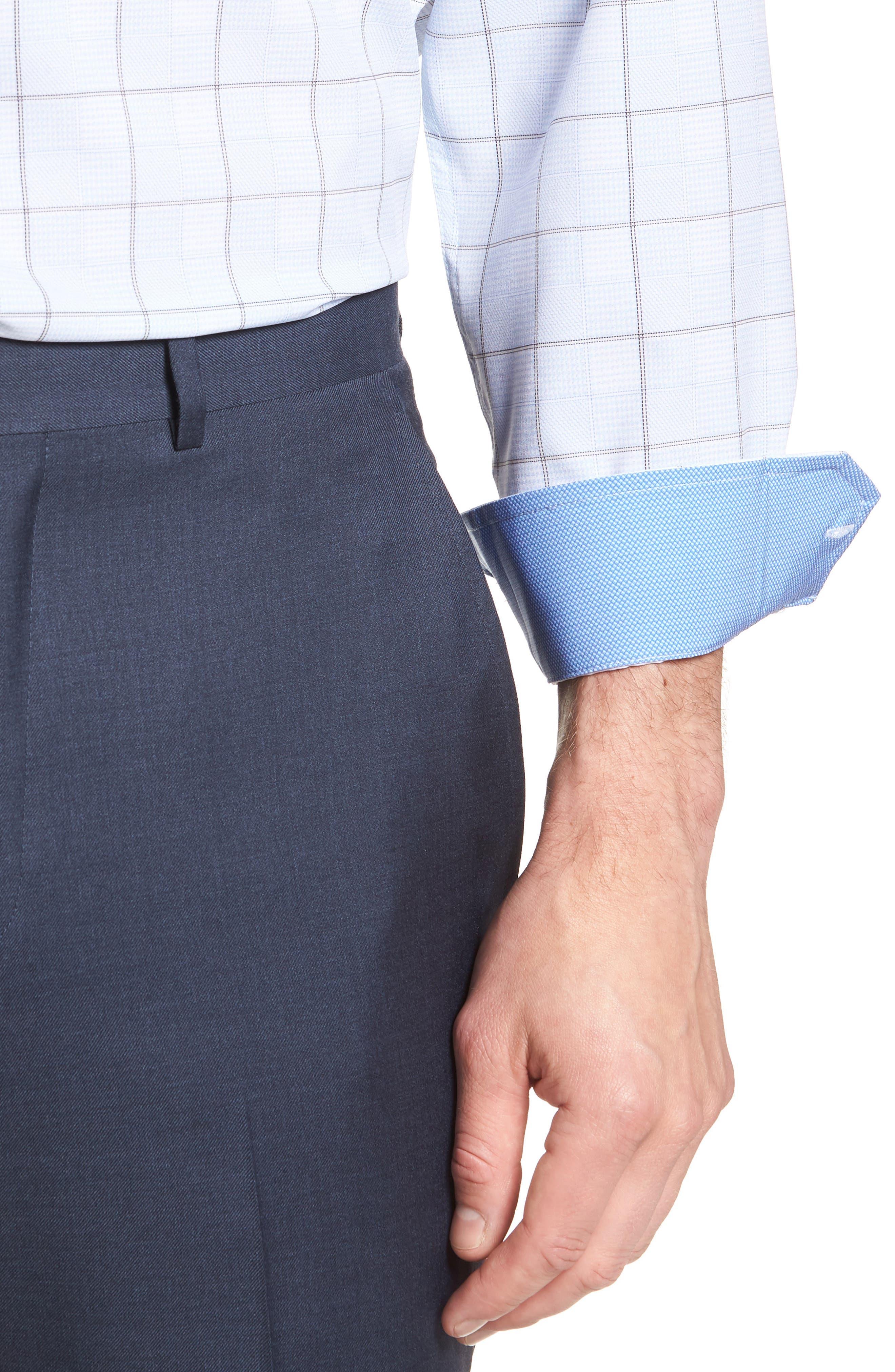 Trim Fit Plaid 4-Way Stretch Dress Shirt,                             Alternate thumbnail 2, color,                             BLUE