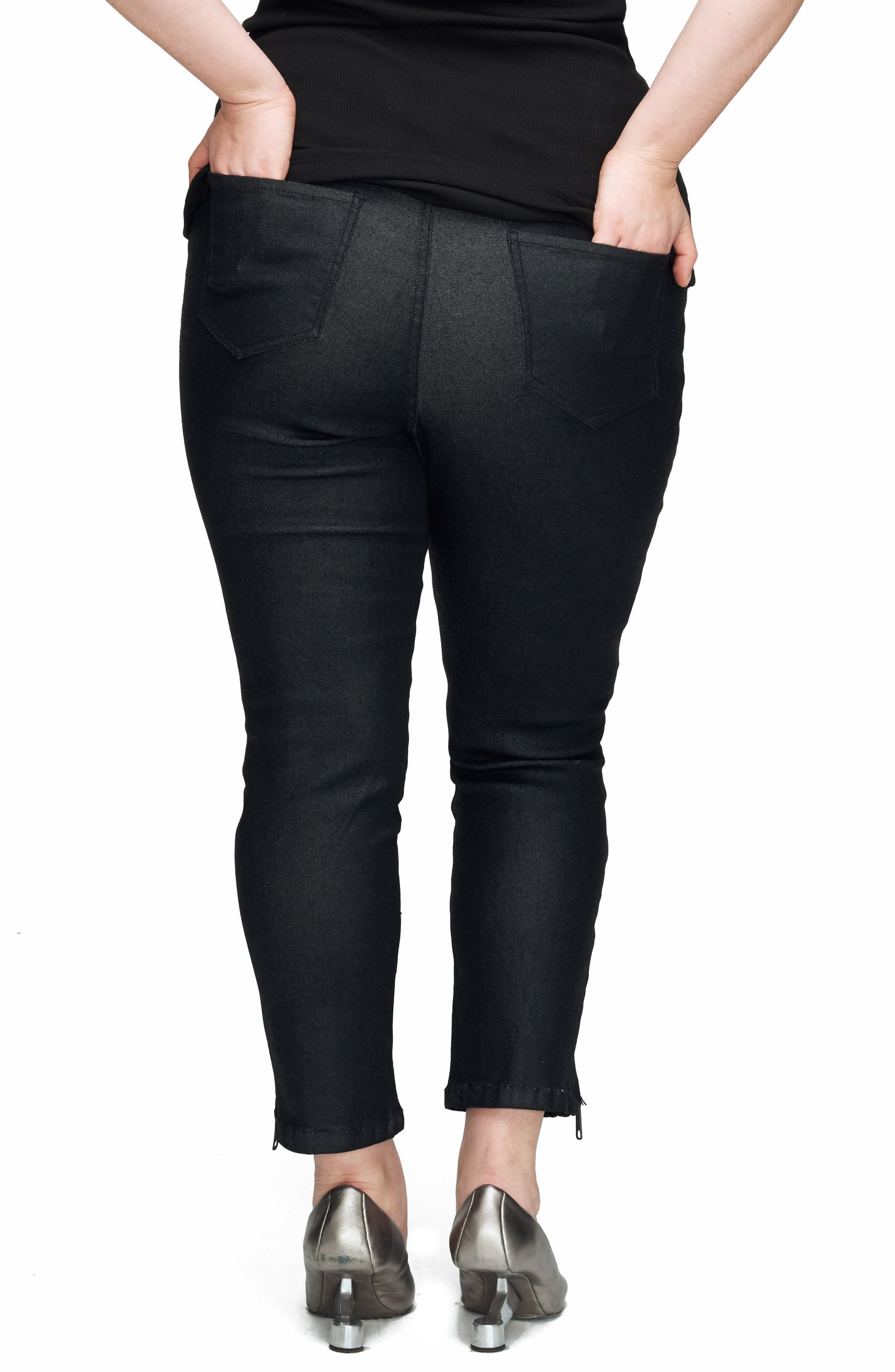 Meuse Resin Tapered Ankle Jeans,                             Alternate thumbnail 2, color,                             BLACK