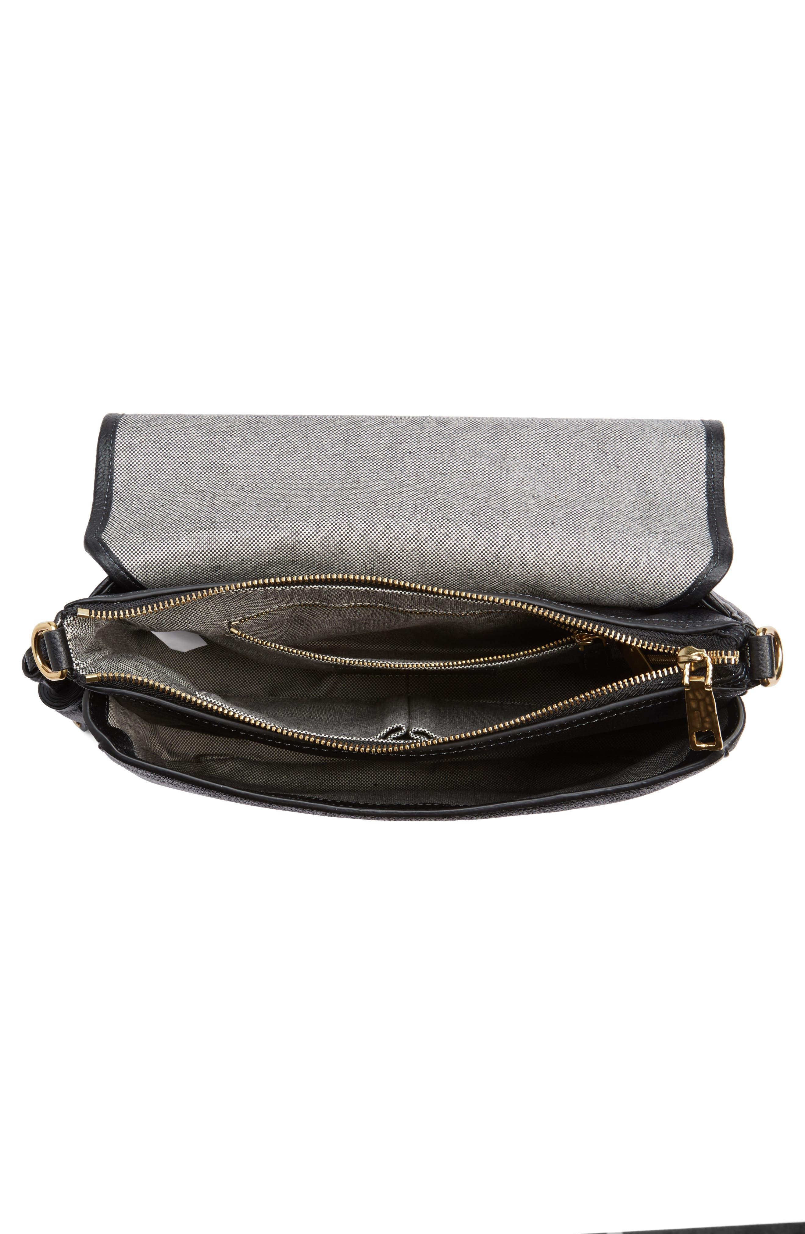 Interlock Leather Crossbody Bag,                             Alternate thumbnail 4, color,                             001