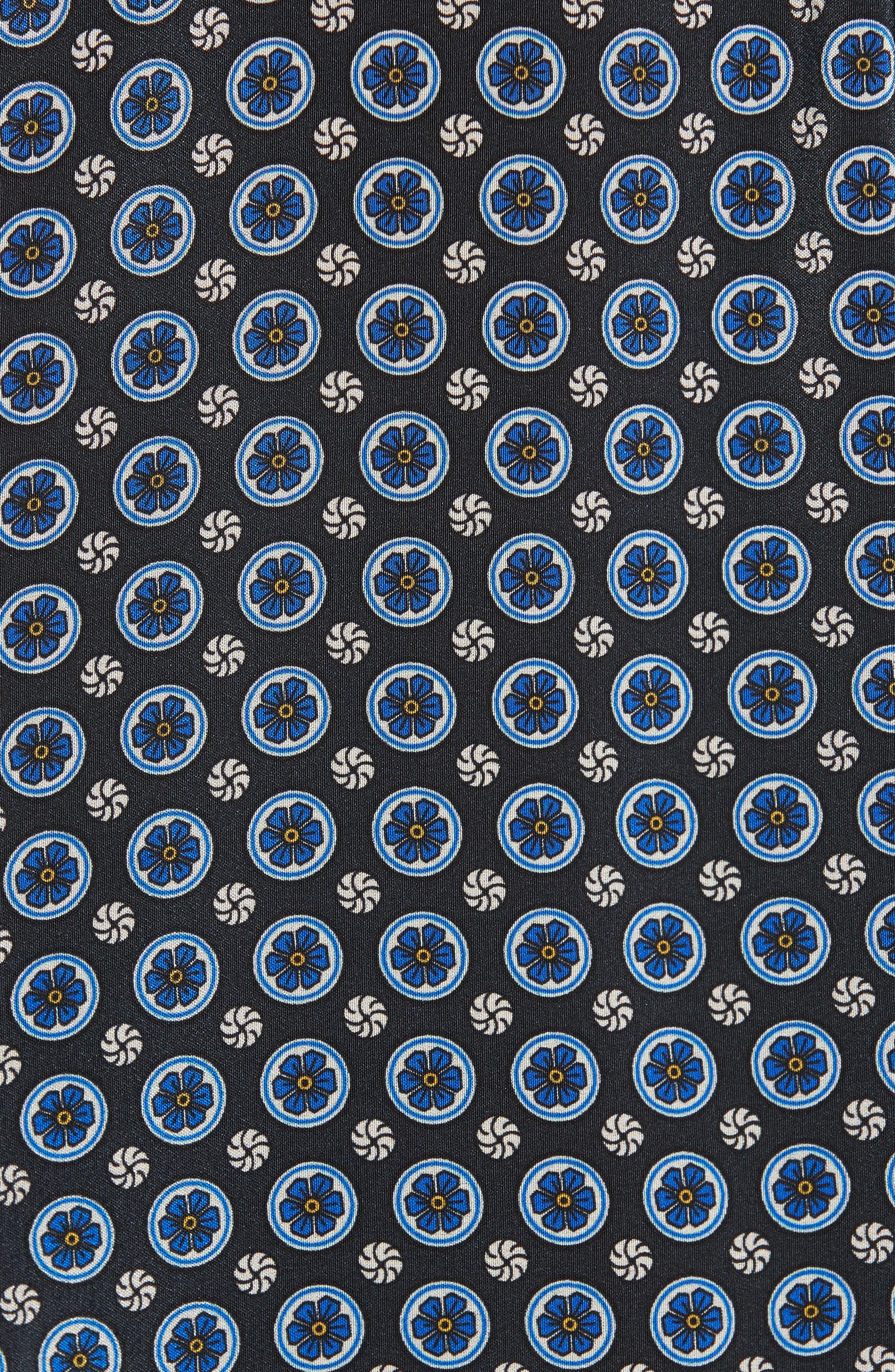 Windsor Print Silk Ruffle Blouse,                             Alternate thumbnail 5, color,                             001