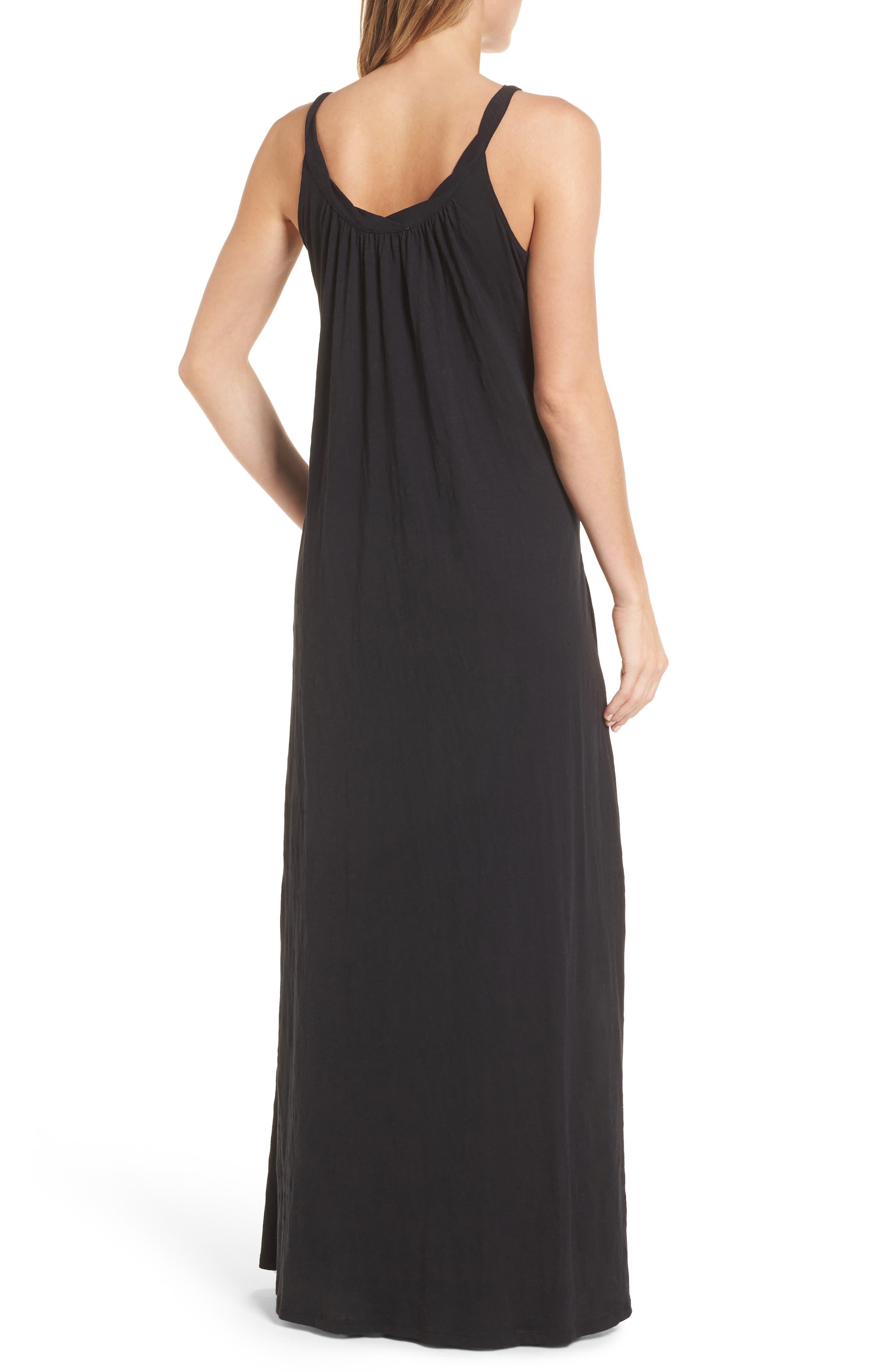 CASLON<SUP>®</SUP>,                             Twist Neck Maxi Dress,                             Alternate thumbnail 2, color,                             BLACK