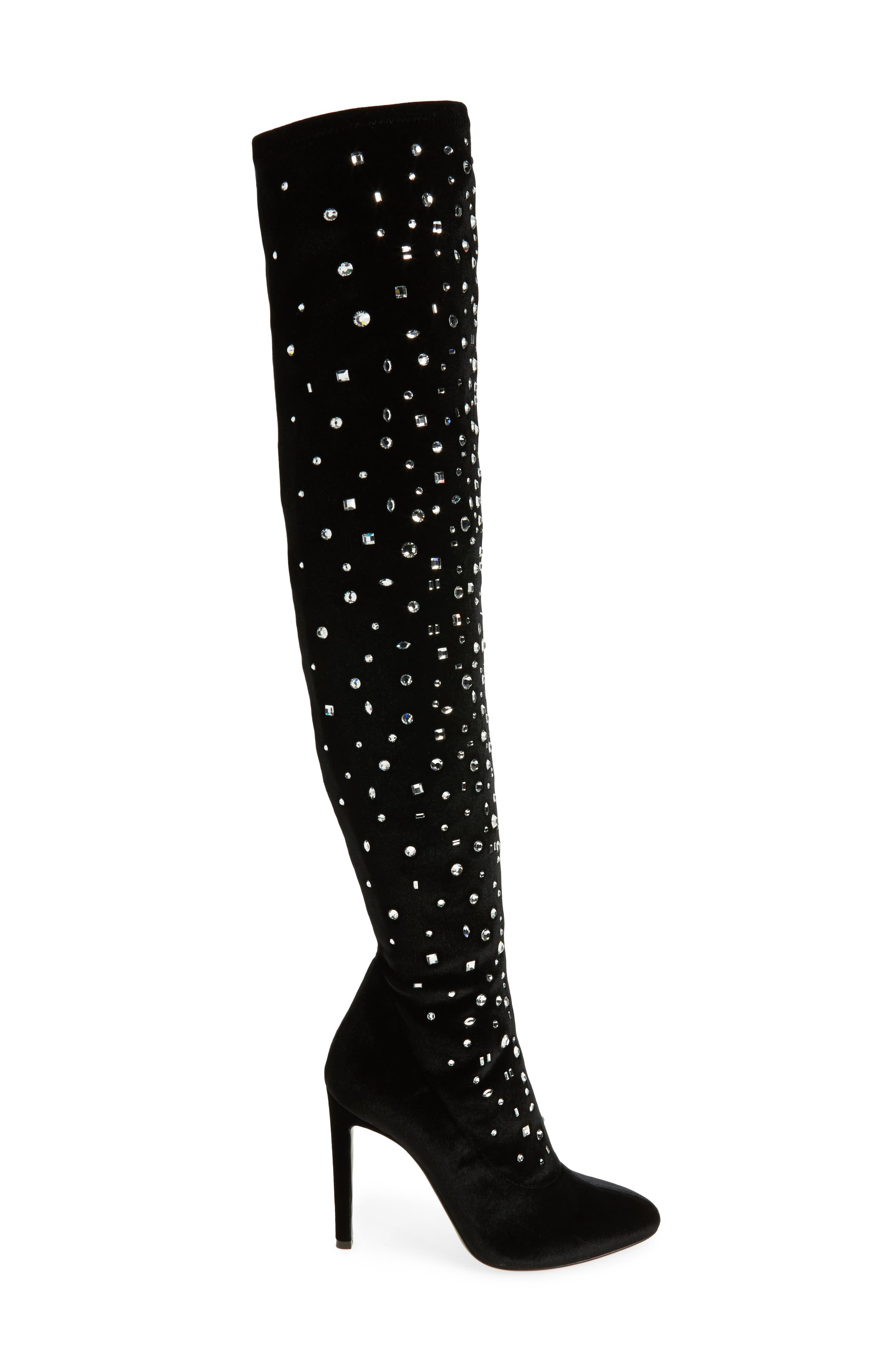 Crystal Over the Knee Boot,                             Alternate thumbnail 3, color,                             001