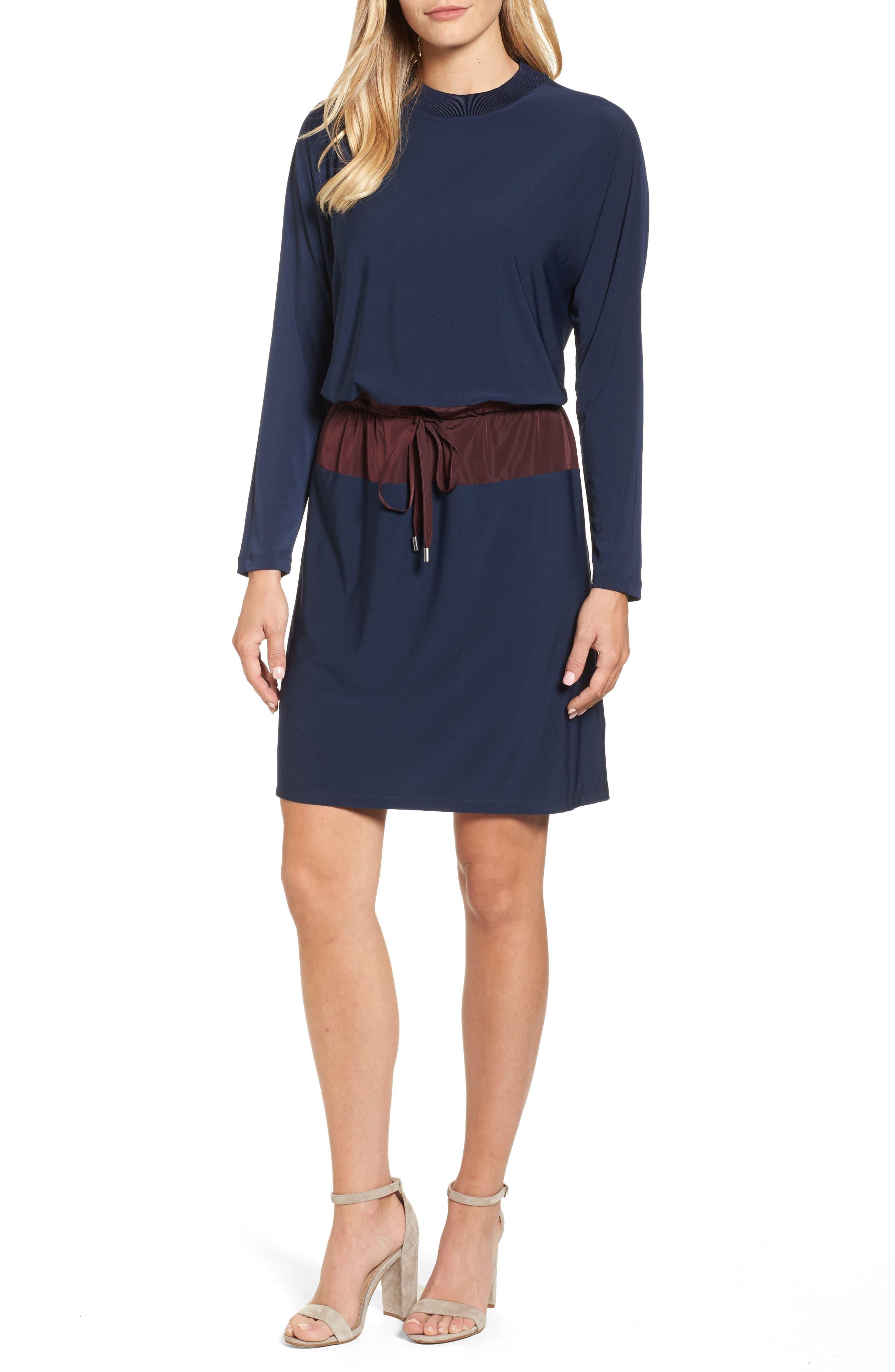 Mixed Media Drawstring Waist Dress,                             Main thumbnail 1, color,