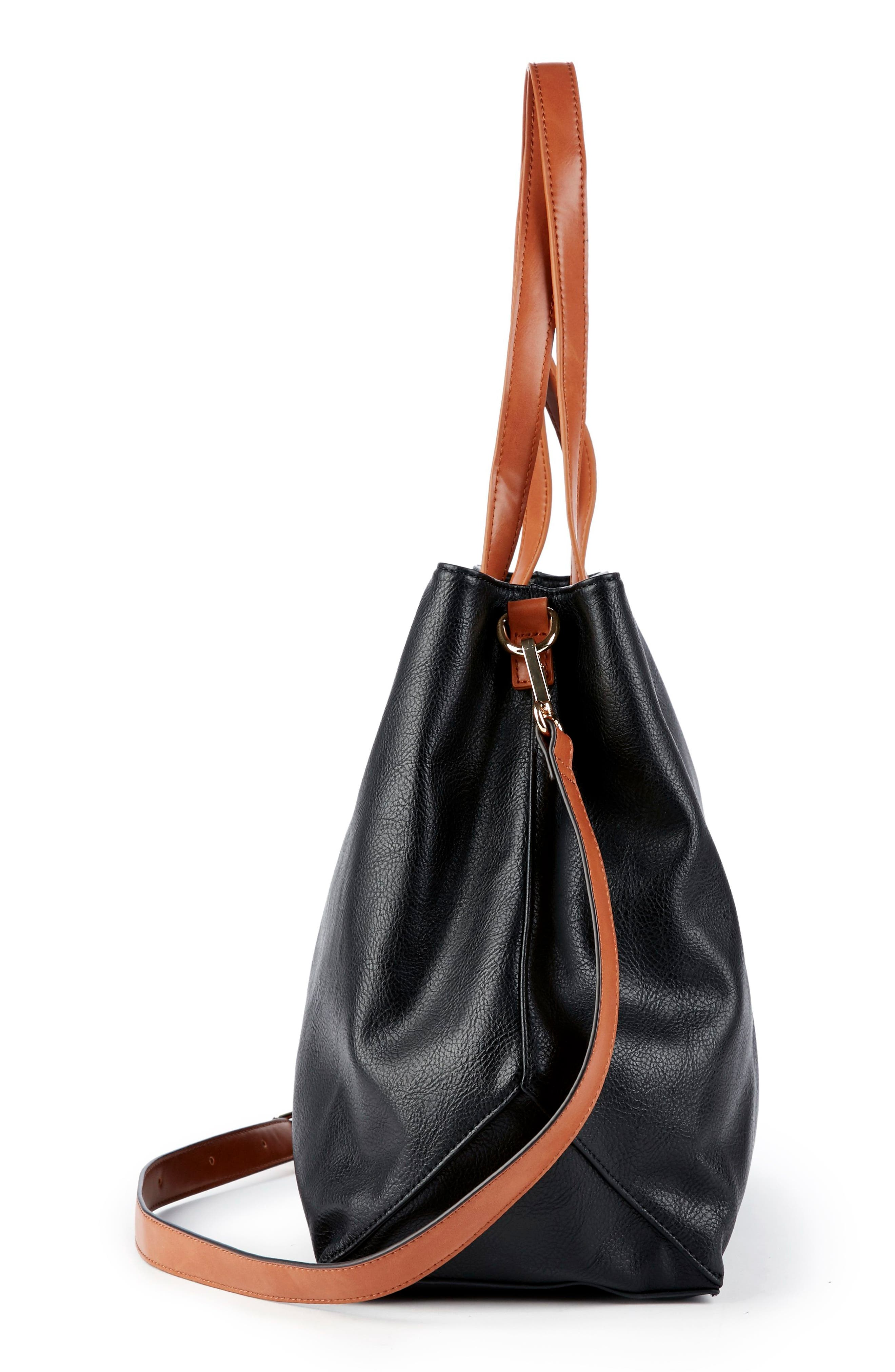 Hester Faux Leather Tote,                             Alternate thumbnail 4, color,                             001
