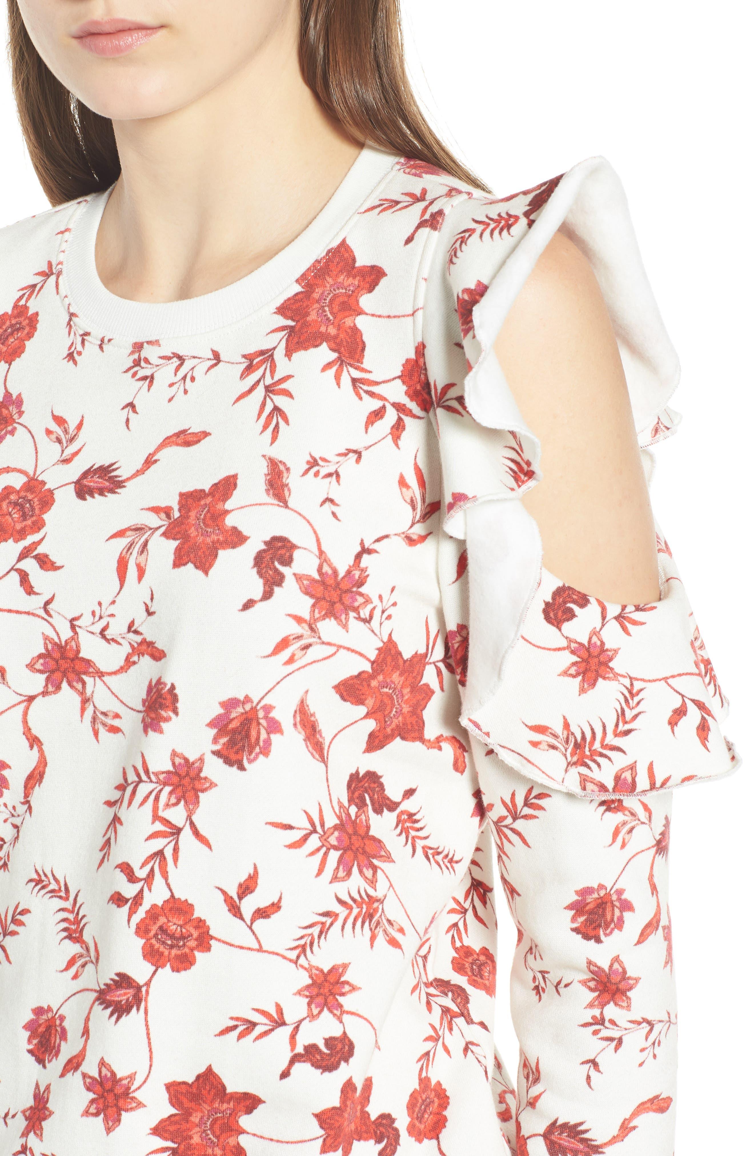 REBECCA MINKOFF,                             Gracie Cold Shoulder Floral Sweatshirt,                             Alternate thumbnail 4, color,                             900