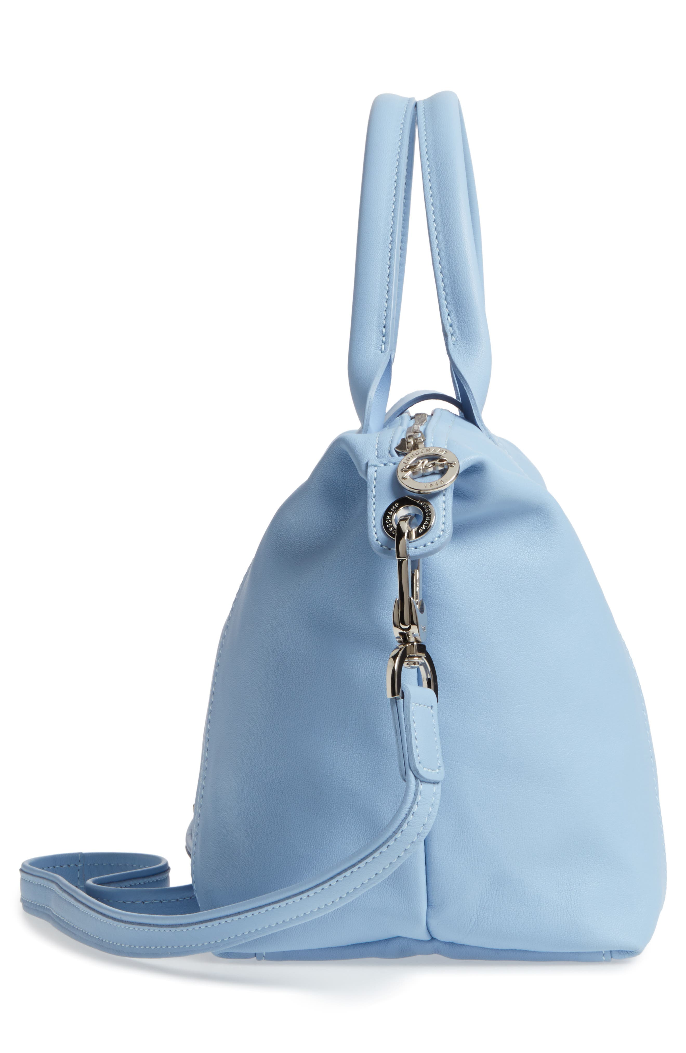 Small 'Le Pliage Cuir' Leather Top Handle Tote,                             Alternate thumbnail 71, color,