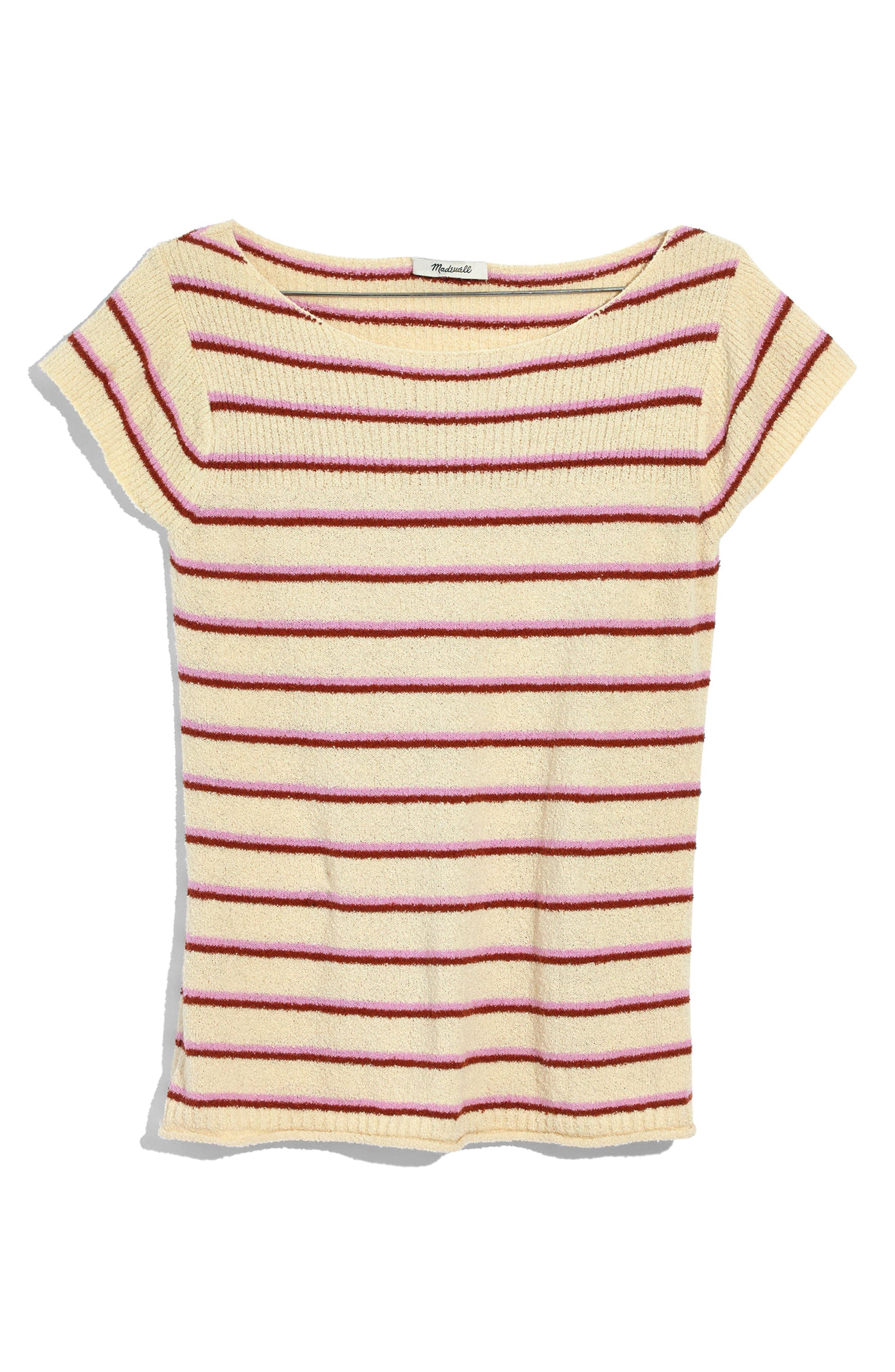 Marin Stripe Sweater Tee,                             Alternate thumbnail 3, color,                             100