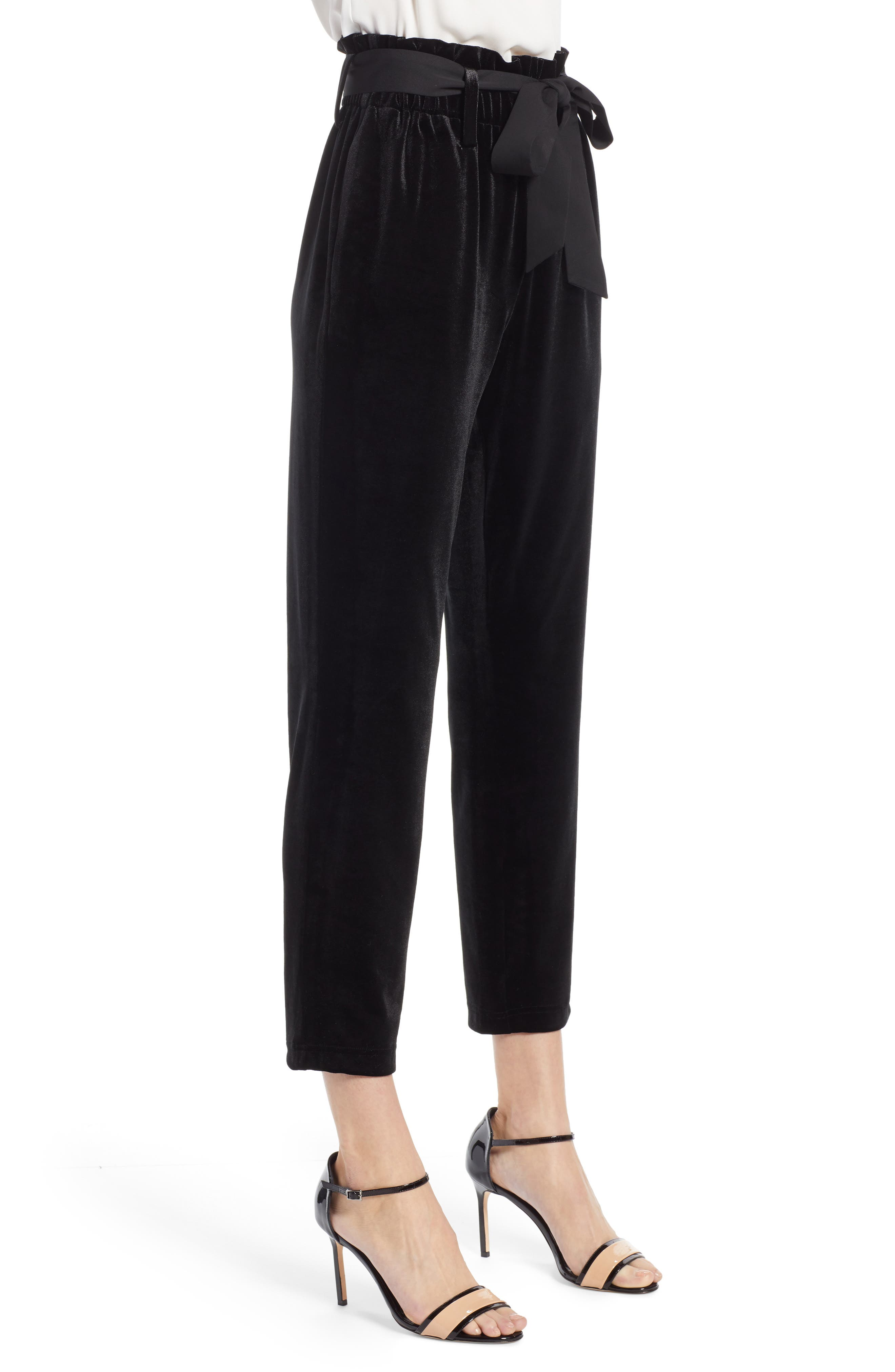 Tie Waist Velvet Pants,                             Alternate thumbnail 4, color,                             001