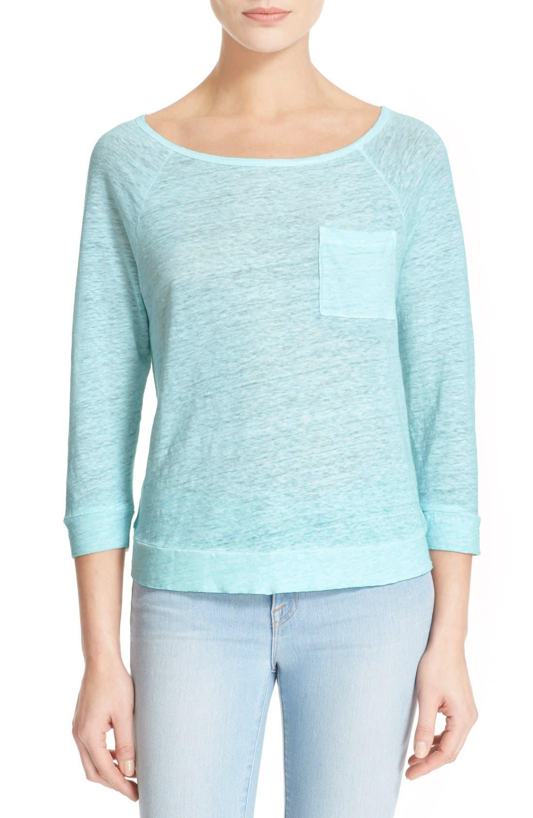 'Yulette' Linen Top, Main, color, 335