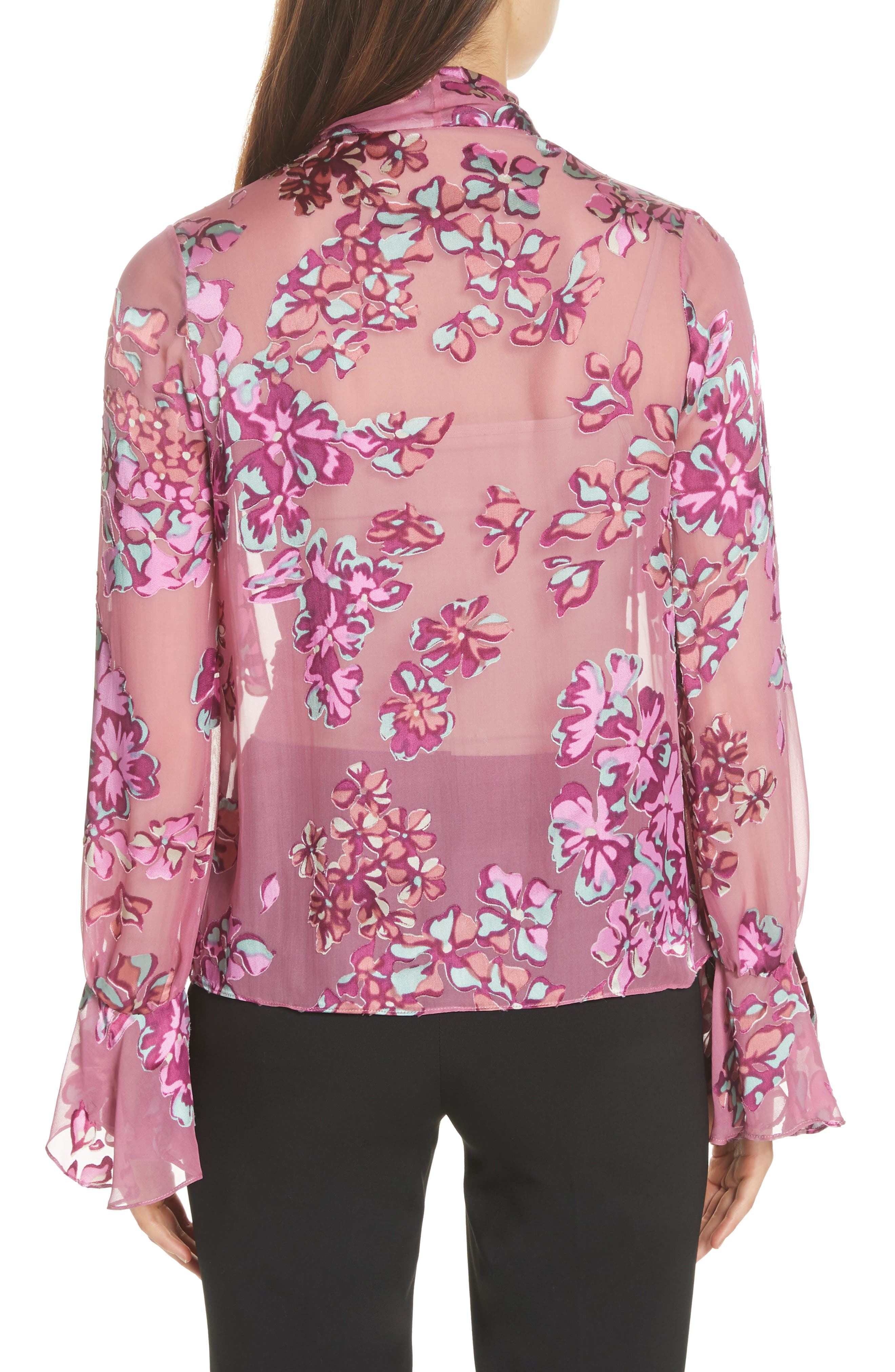 Lauren Floral Tie Neck Top,                             Alternate thumbnail 2, color,                             660