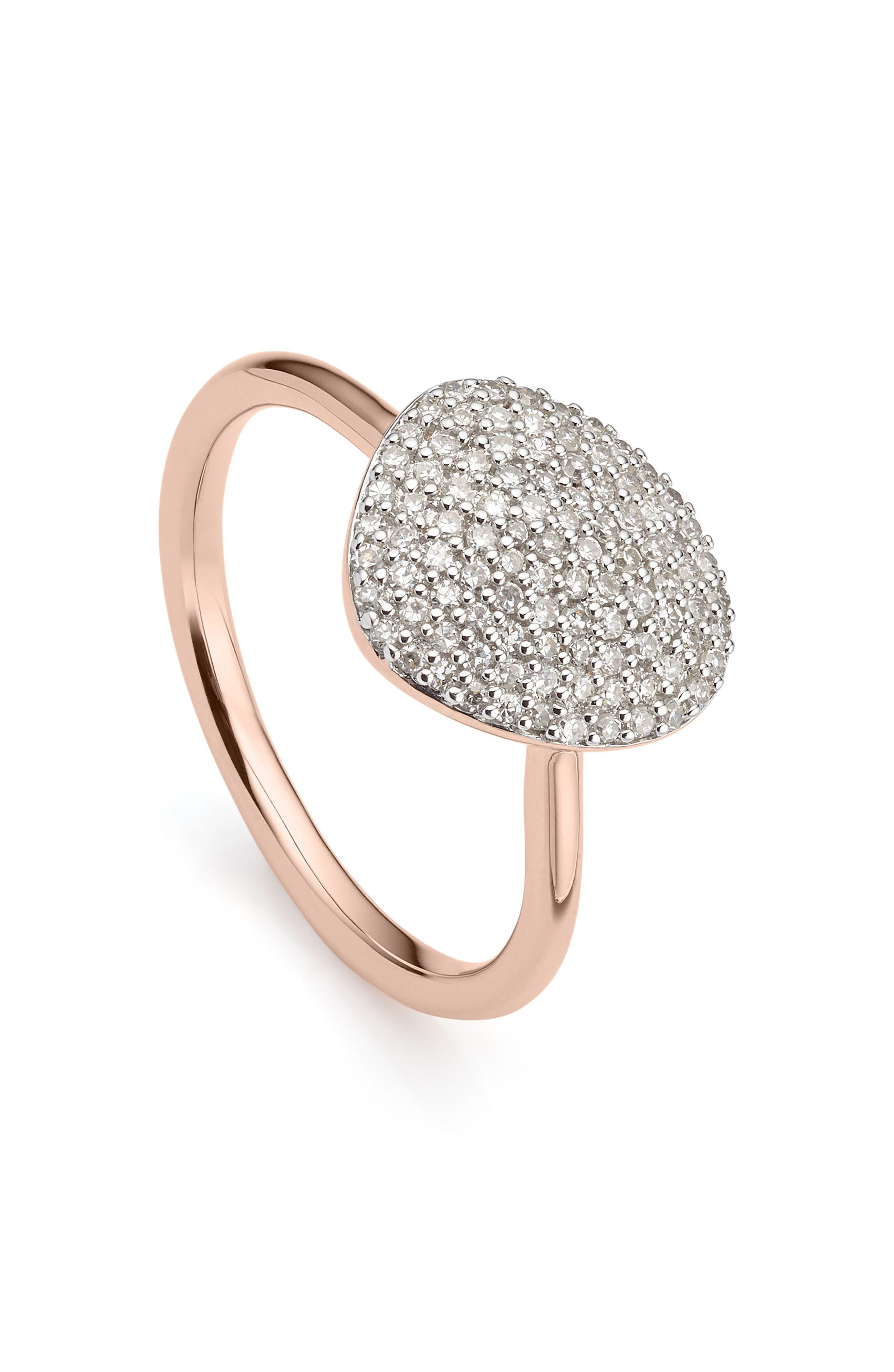 Nura Diamond Pebble Ring,                             Main thumbnail 1, color,                             ROSE GOLD/ DIAMOND