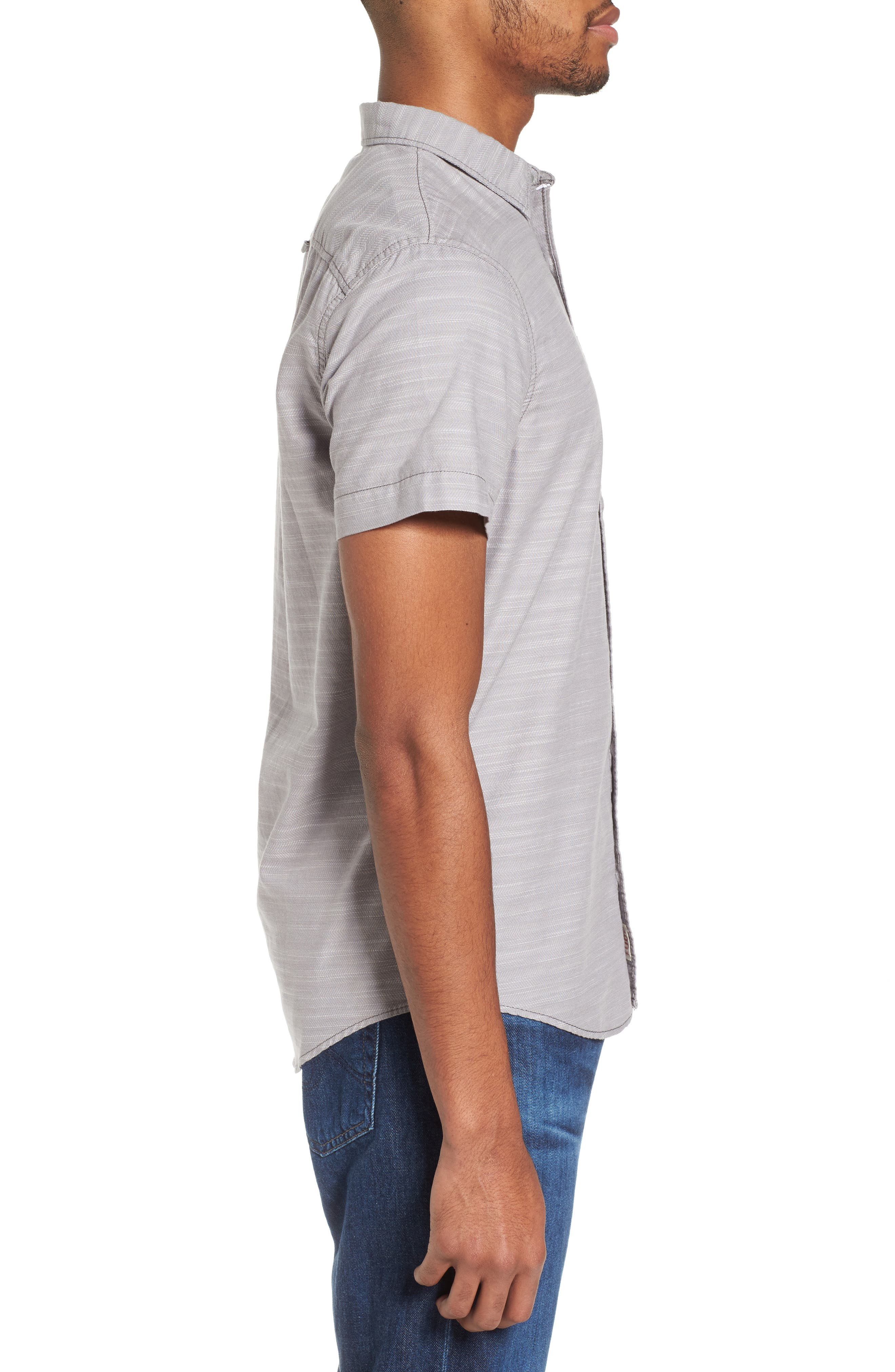 Herringbone Chambray Shirt,                             Alternate thumbnail 3, color,                             030