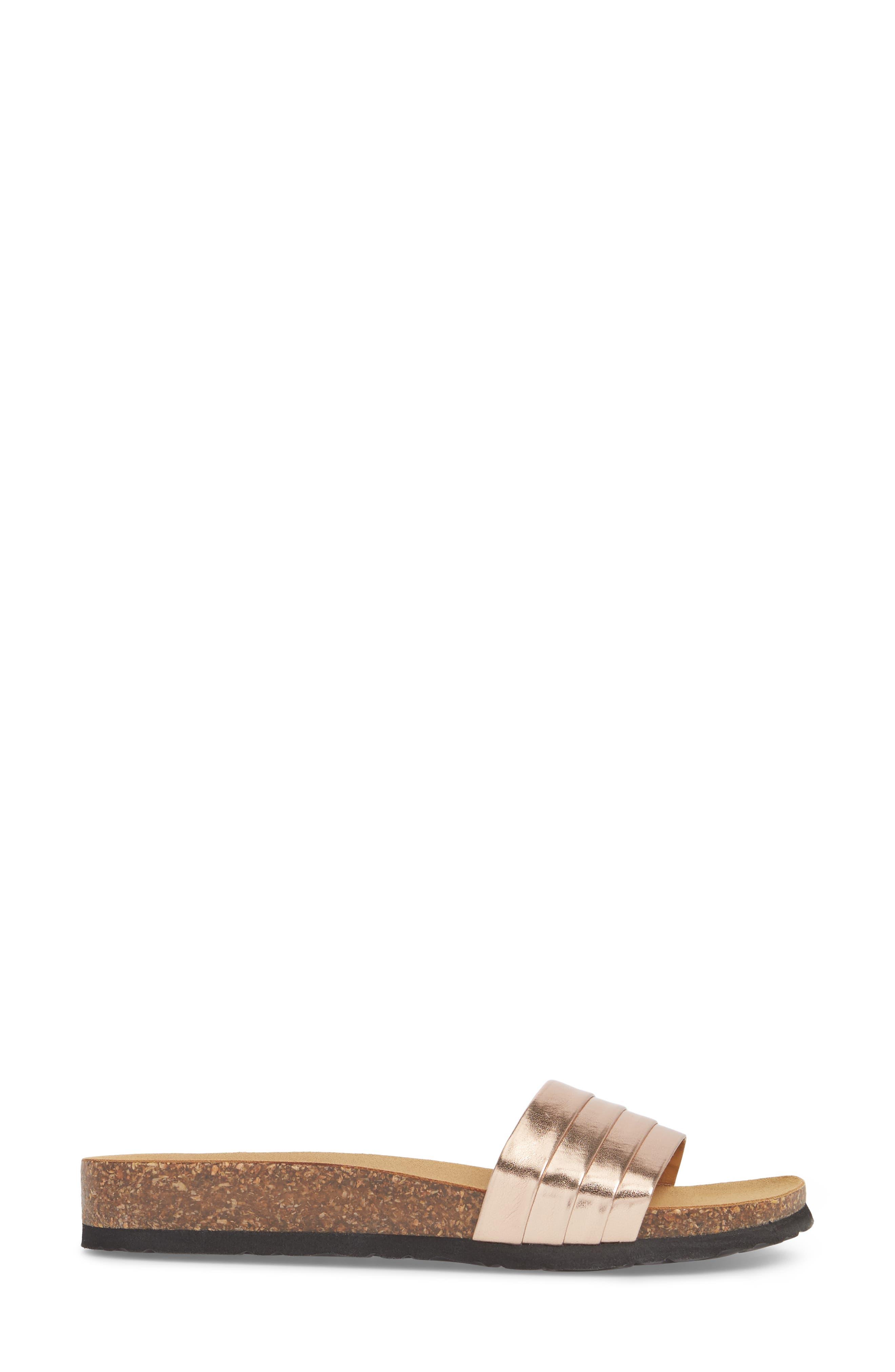Santos Slide Sandal,                             Alternate thumbnail 3, color,                             ROSE GOLD FAUX LEATHER