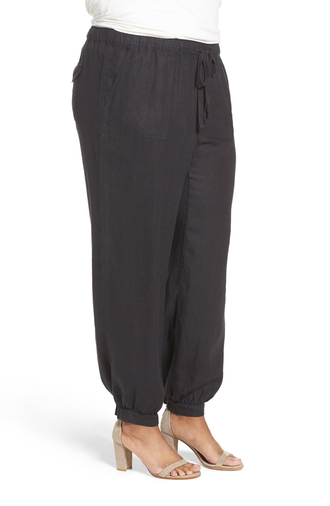 Linen Jogger Pants,                             Alternate thumbnail 3, color,                             001