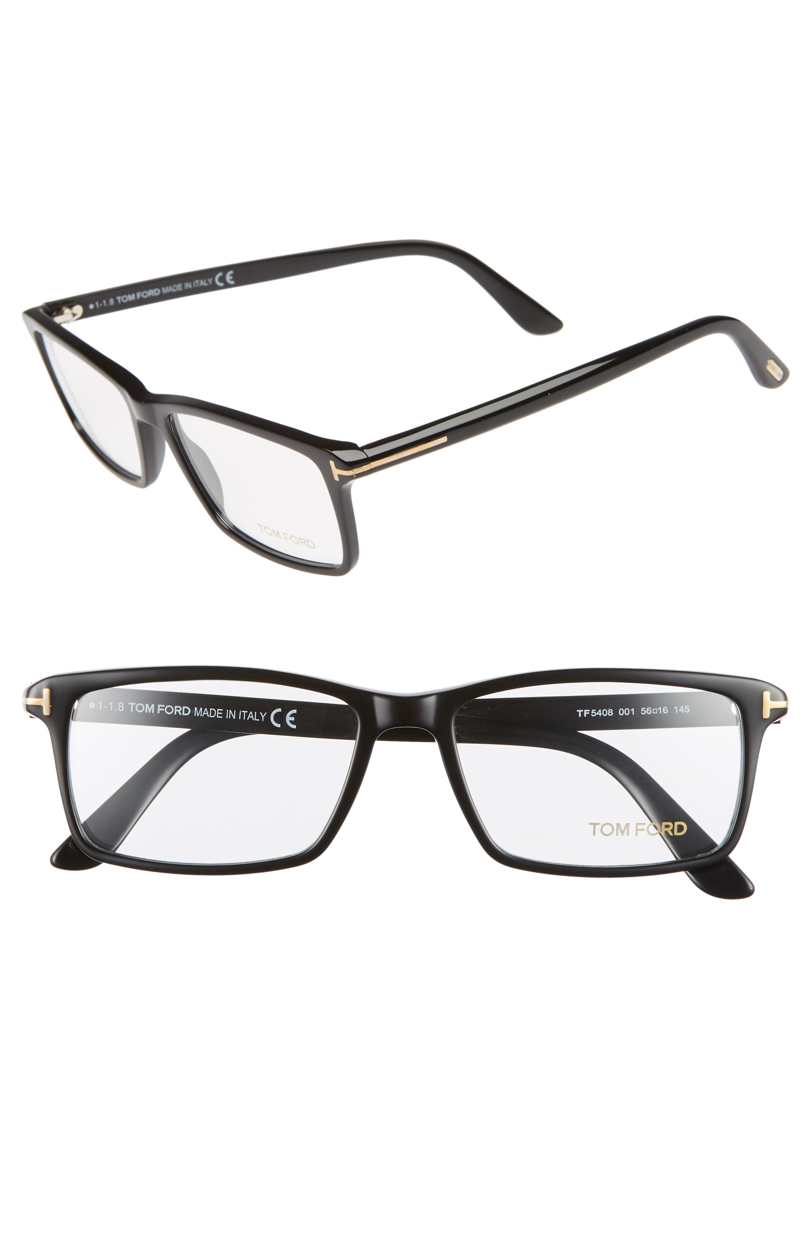 56mm Rectangle Optical Glasses,                         Main,                         color, SHINY BLACK/ SHINY ROSE GOLD