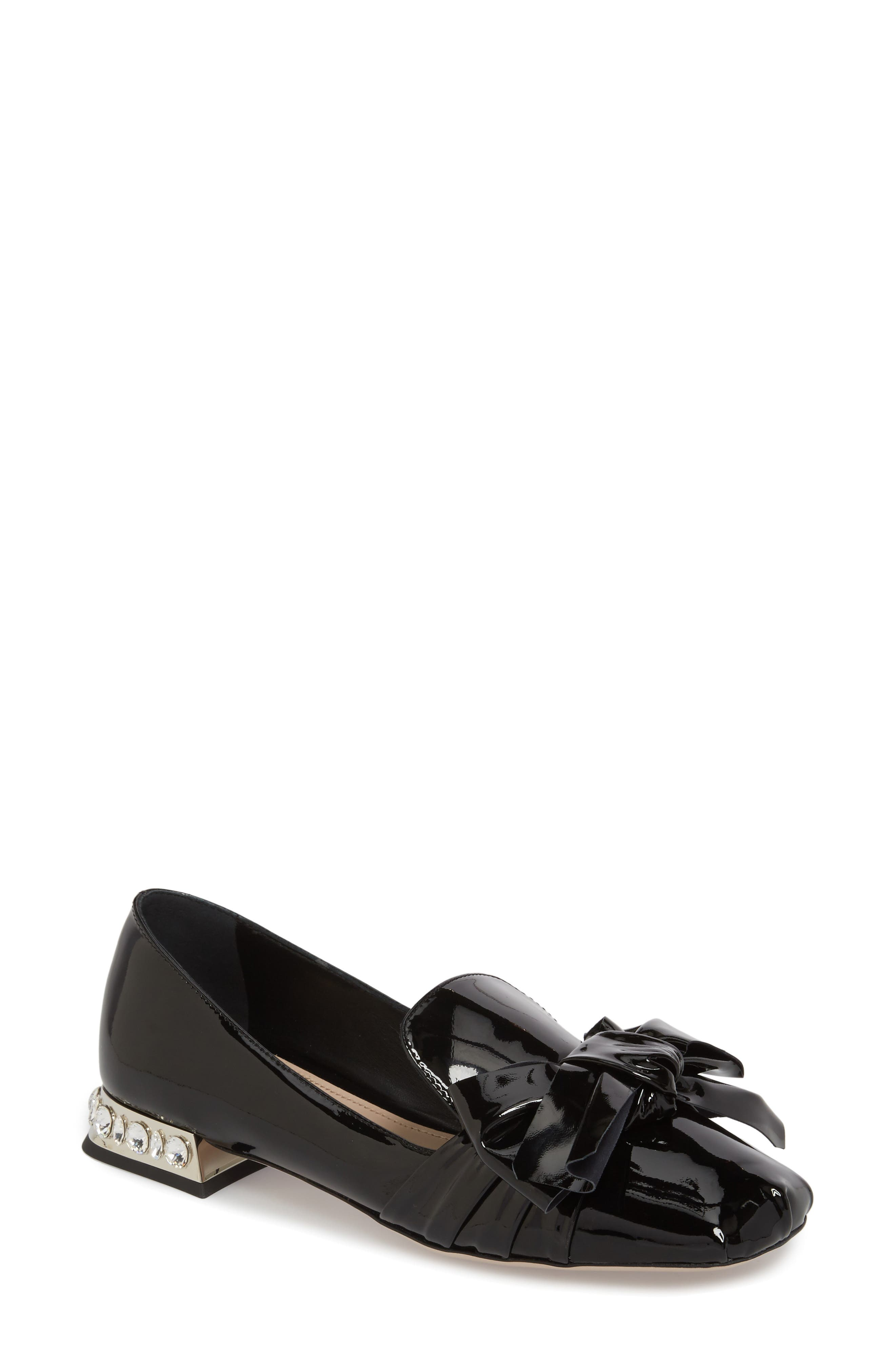 Embellished Heel Bow Loafer,                         Main,                         color, BLACK