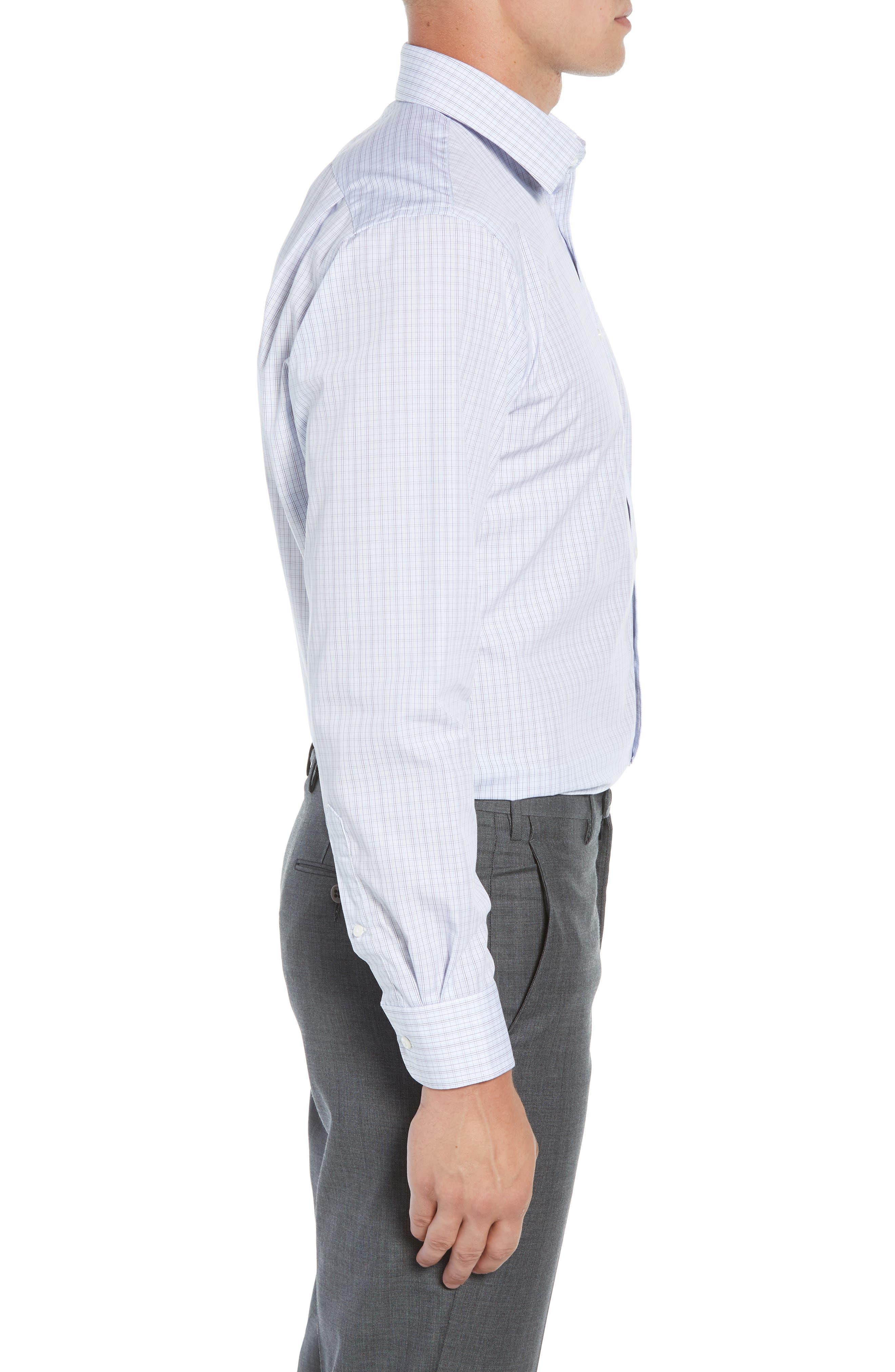 Traditional Fit Plaid Dress Shirt,                             Alternate thumbnail 4, color,                             410