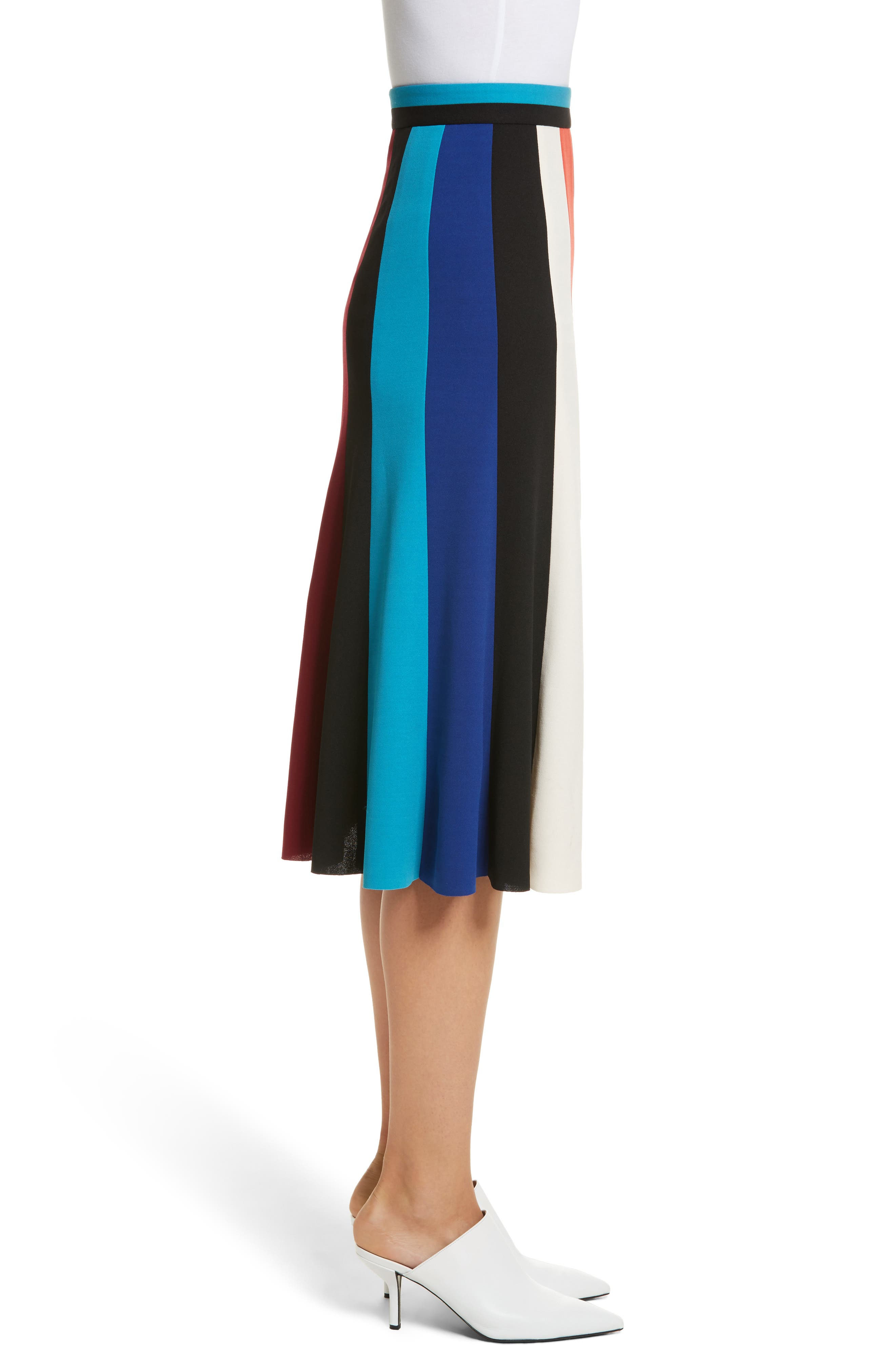 Colorblock Stripe Flared Skirt,                             Alternate thumbnail 3, color,                             498