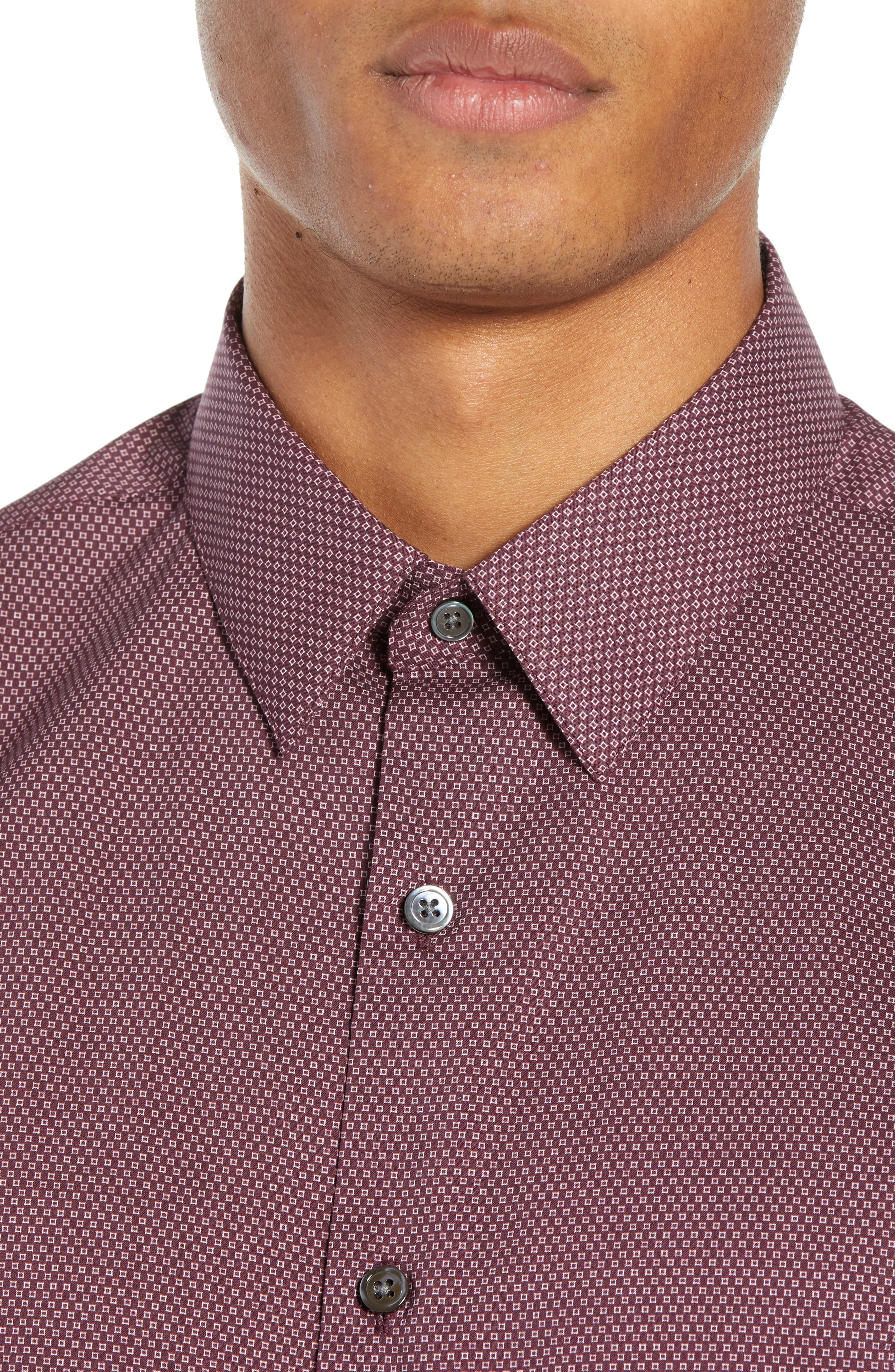 Sylvain Regular Fit Cinder Print Sport Shirt,                             Alternate thumbnail 2, color,                             MALBEC MULTI